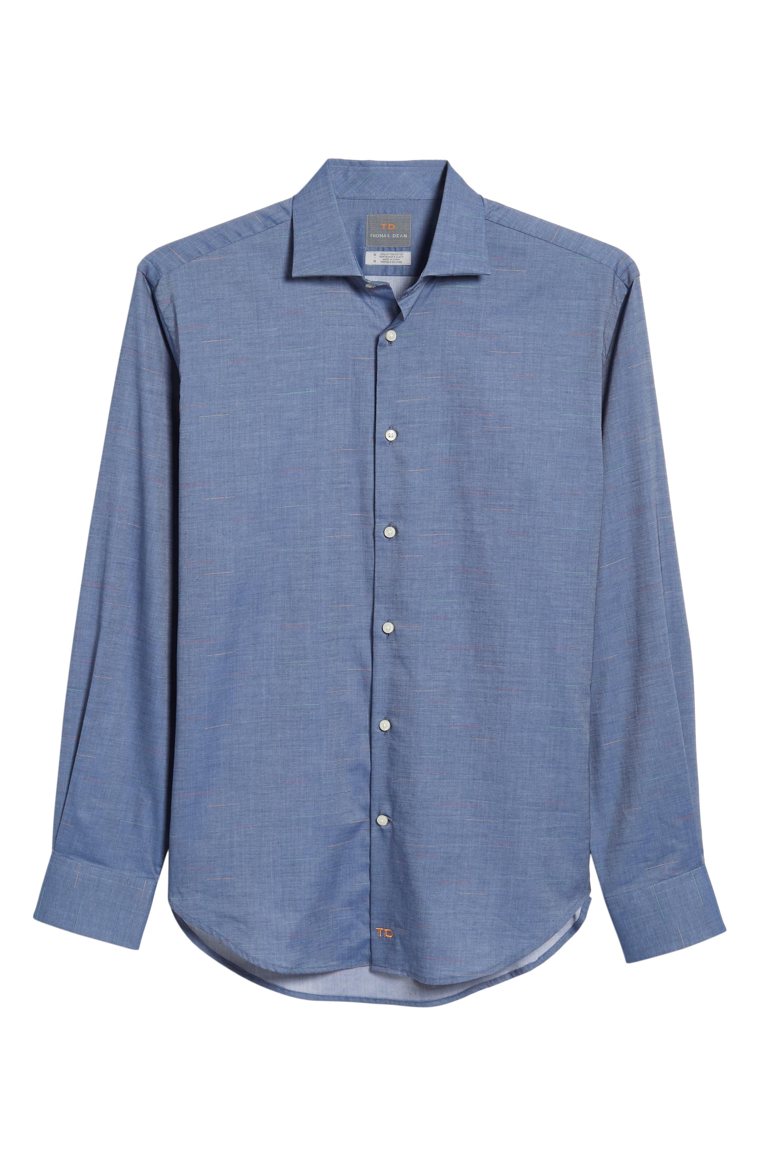 Regular Fit Chambray Sport Shirt,                             Alternate thumbnail 6, color,                             Blue