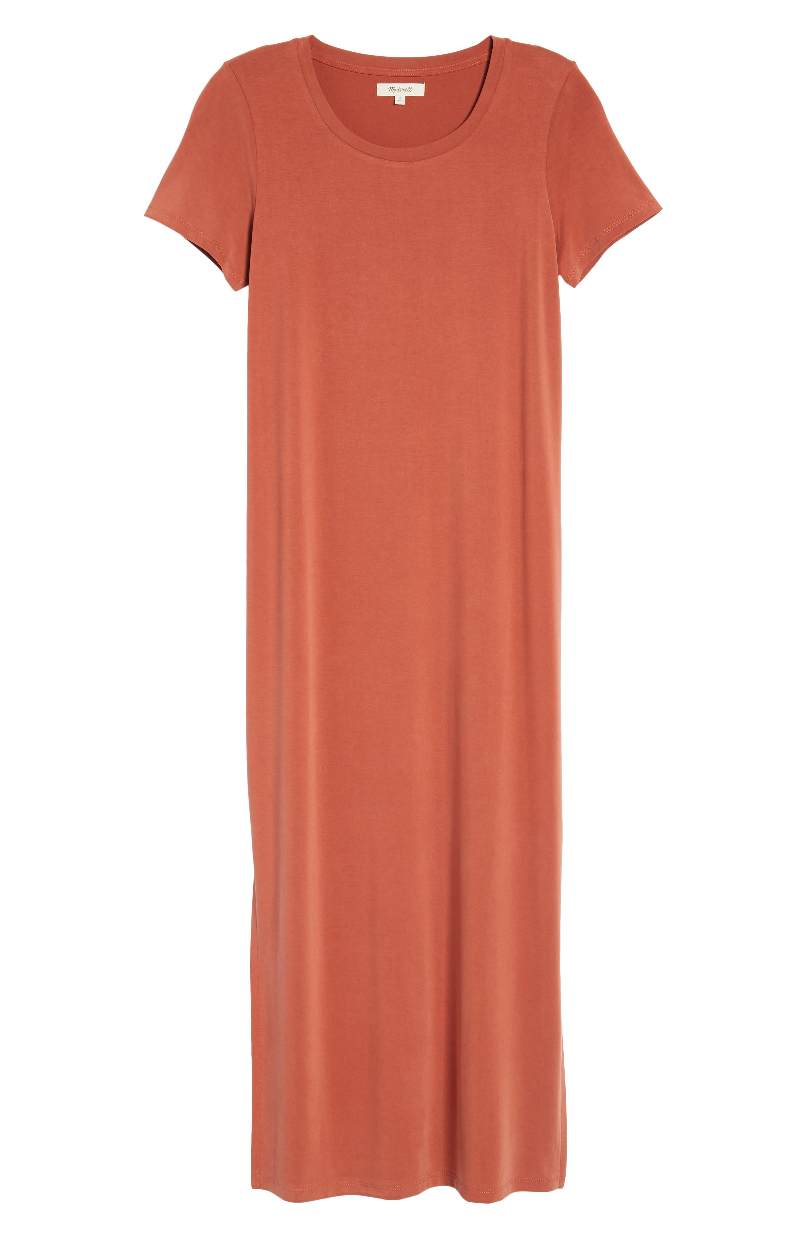 Sandwashed Maxi T-Shirt Dress,                             Alternate thumbnail 7, color,                             Rusty Torch