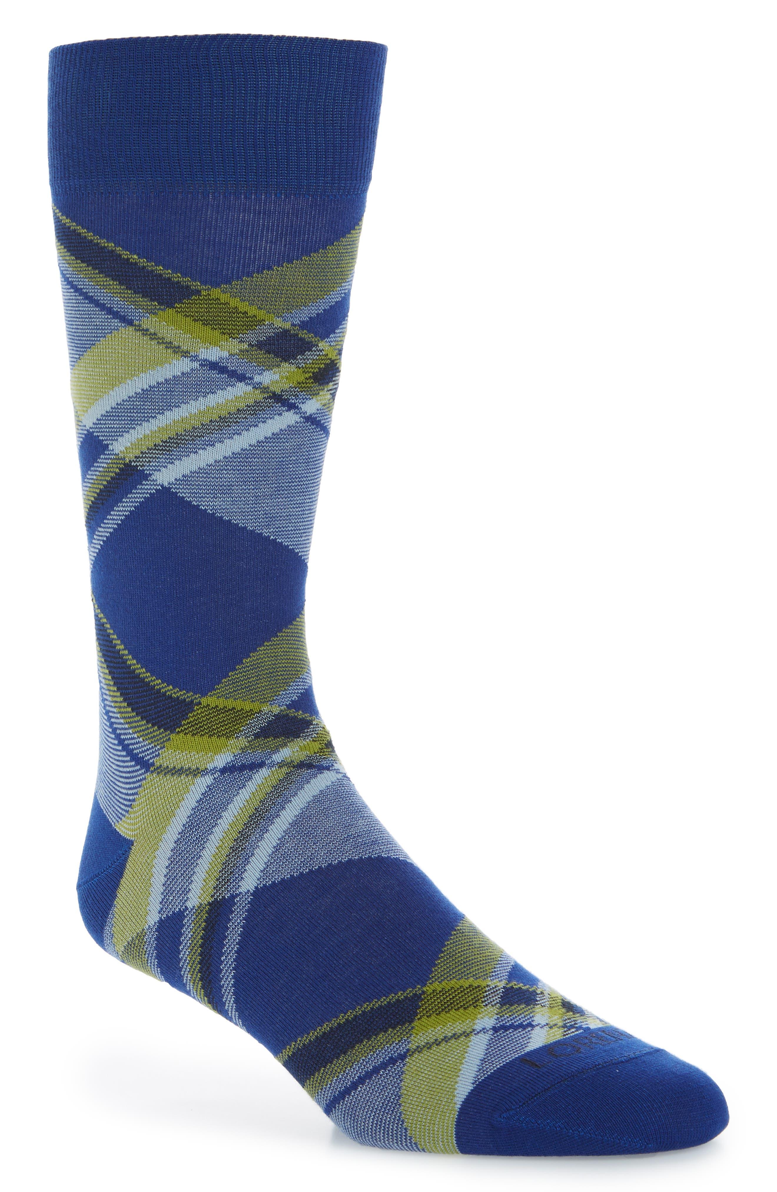 Diagonal Plaid Crew Socks,                             Main thumbnail 1, color,                             Royal Blue