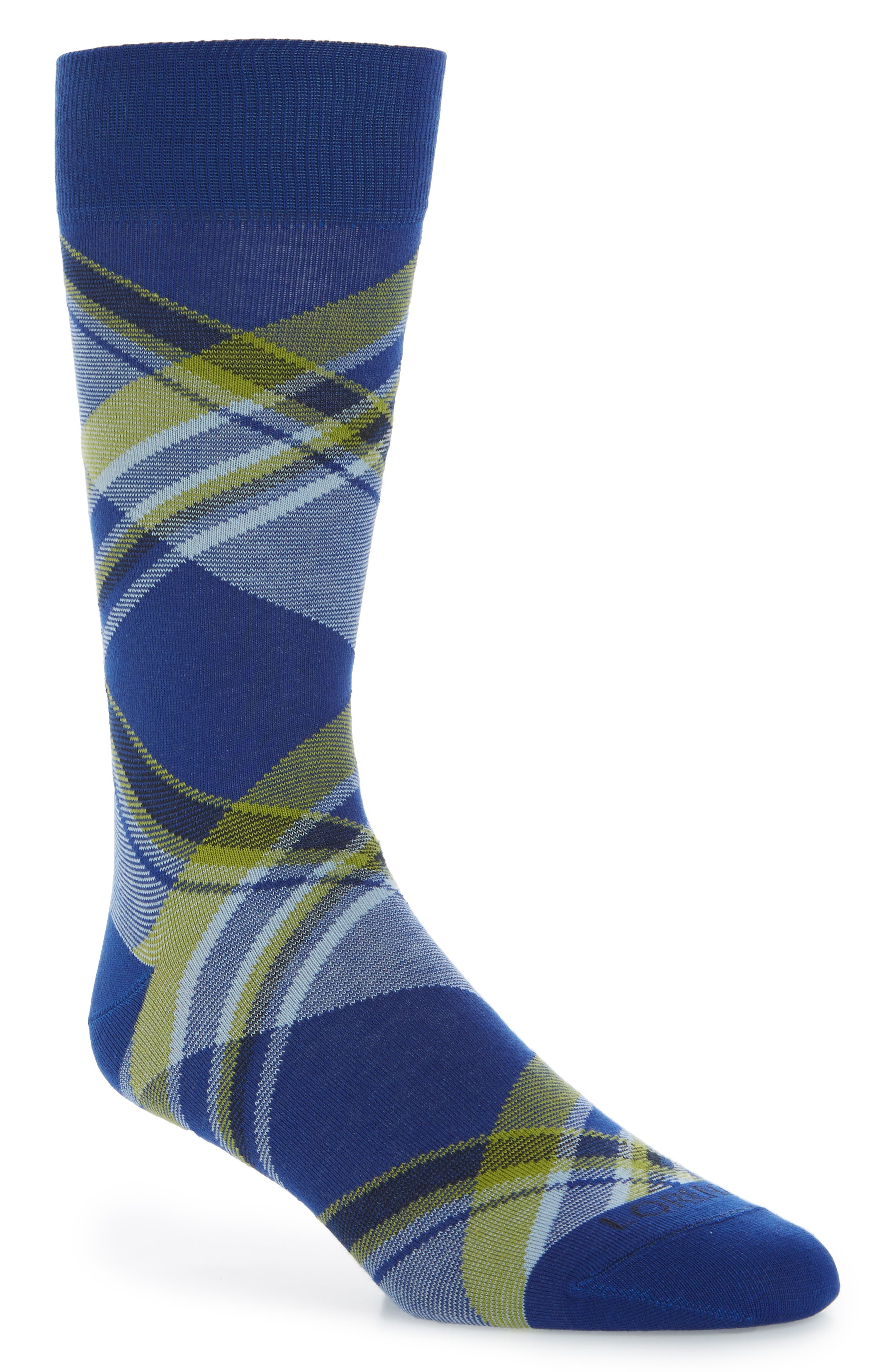 Diagonal Plaid Crew Socks,                         Main,                         color, Royal Blue