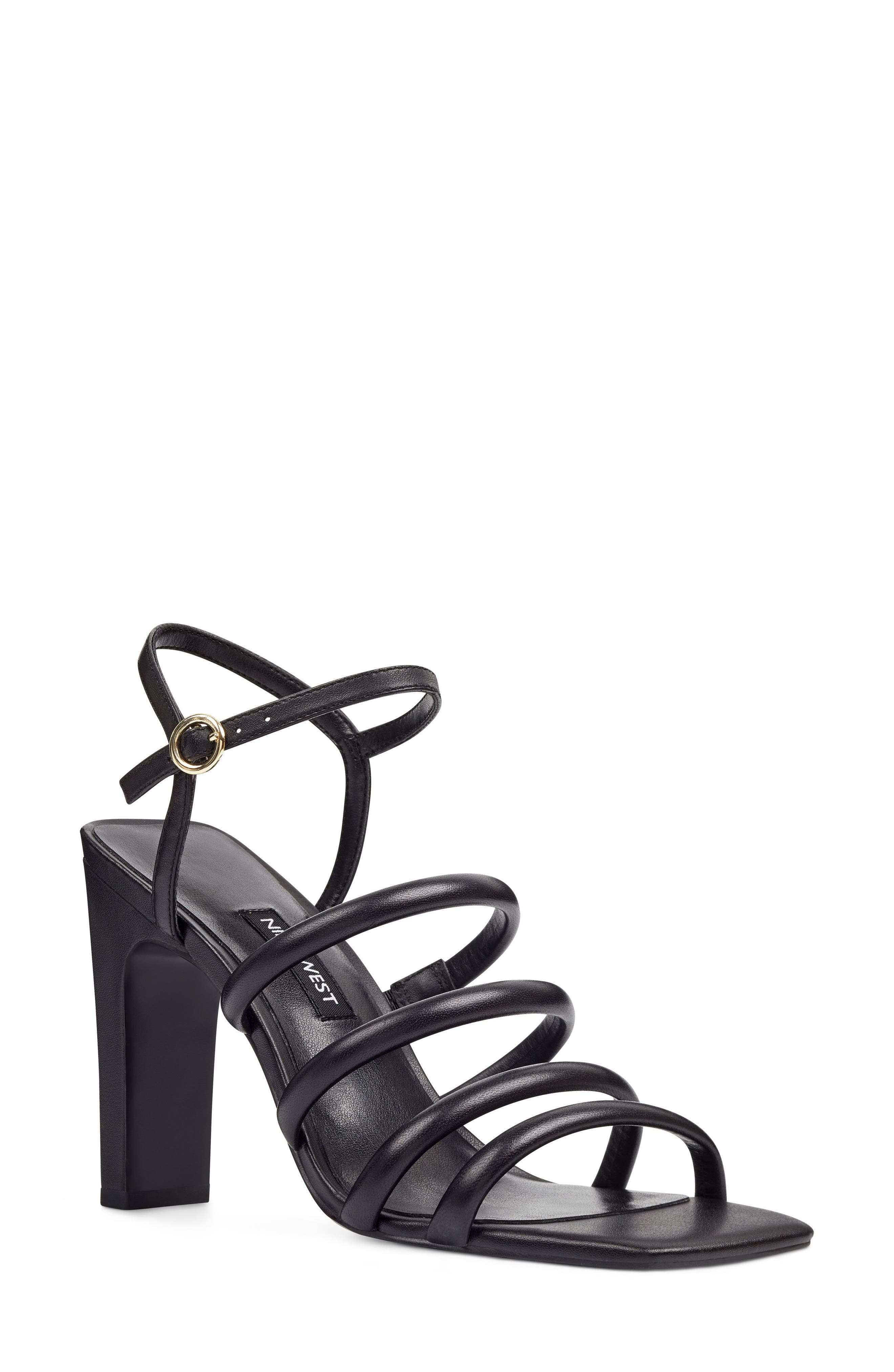 Laxian Cage Sandal,                         Main,                         color, Black Leather