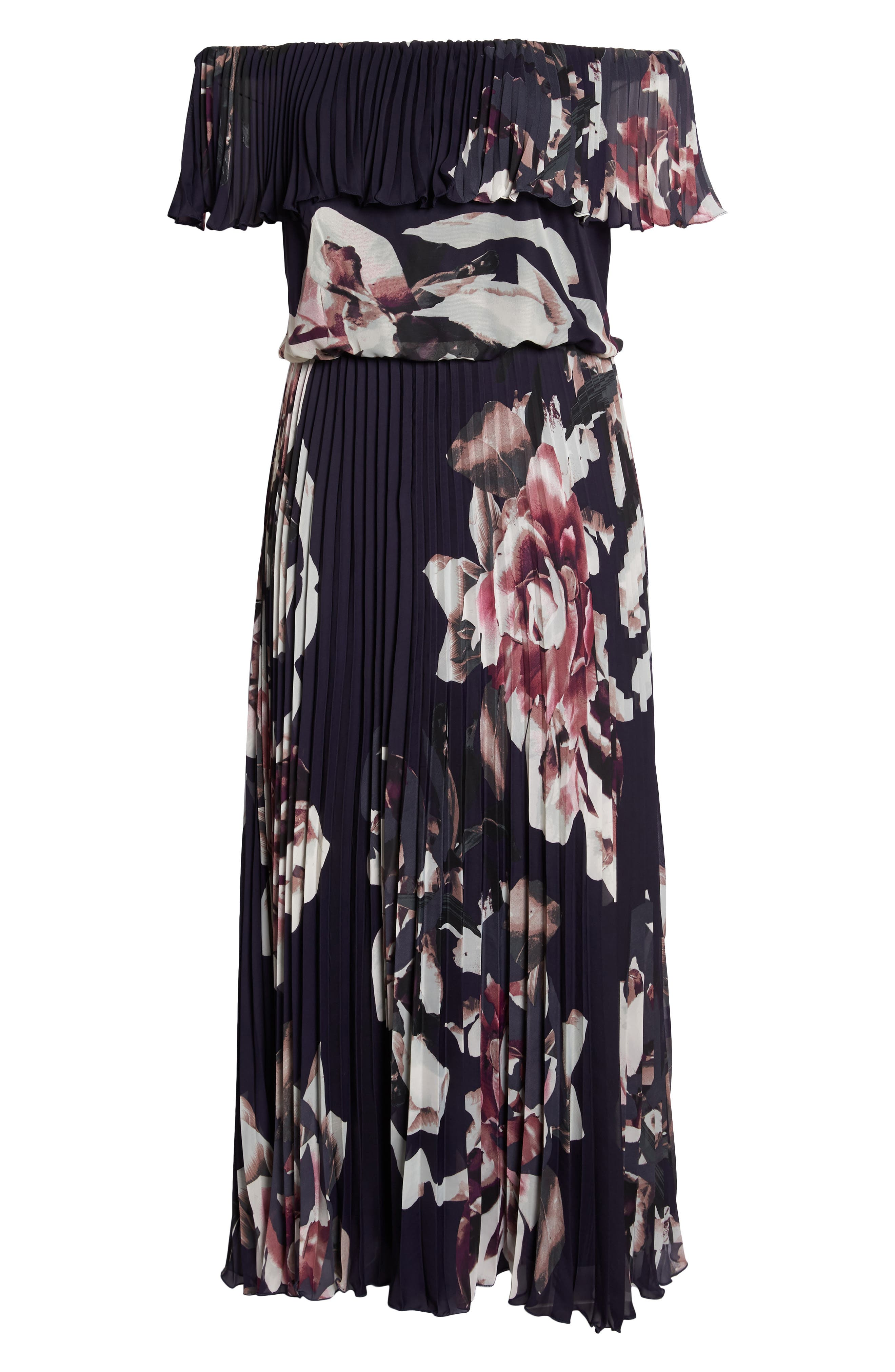 Floral Pleat Off the Shoulder Ruffle Gown,                             Alternate thumbnail 6, color,                             Navy/ Pink