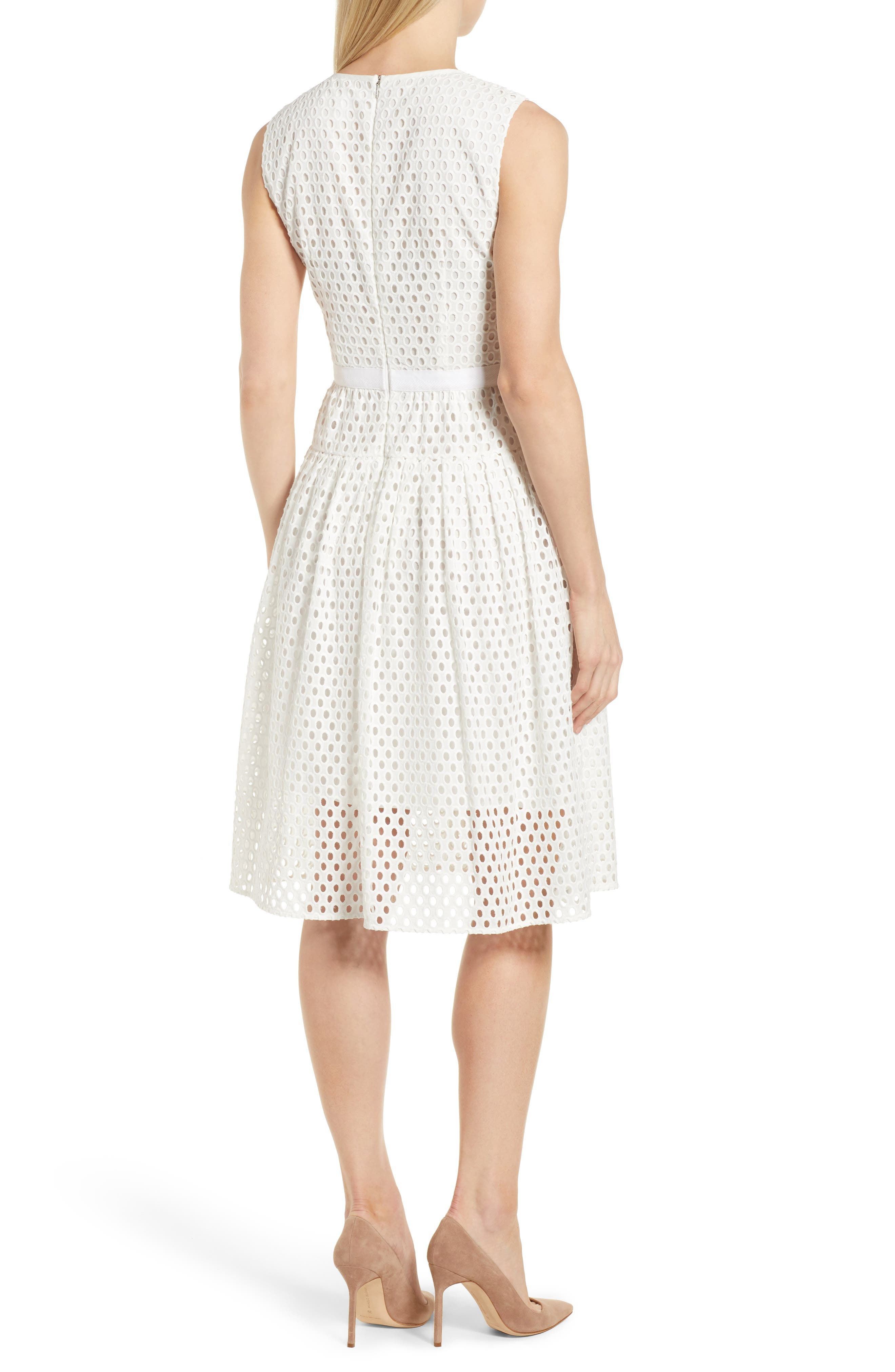 Dafalia Cotton Eyelet Dress,                             Alternate thumbnail 2, color,                             Vanilla Light