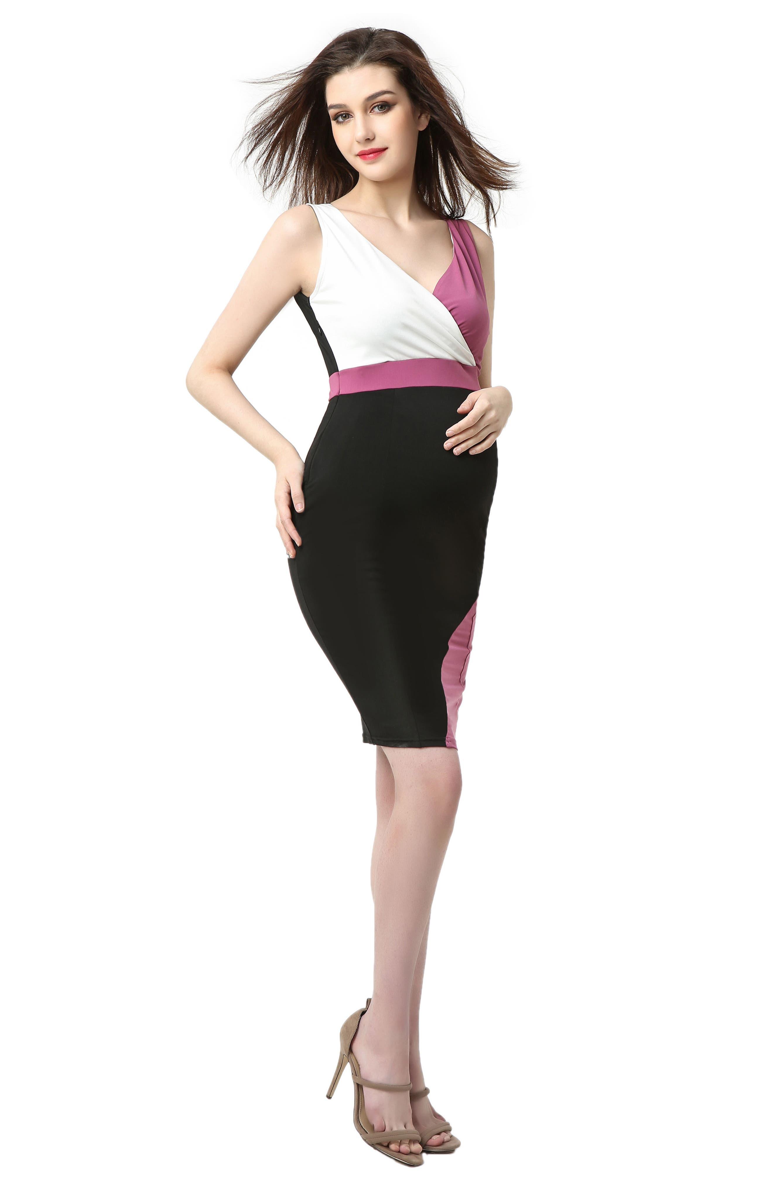 Sophia Colorblock Body-Con Maternity Dress,                             Alternate thumbnail 5, color,                             Black/ Rose