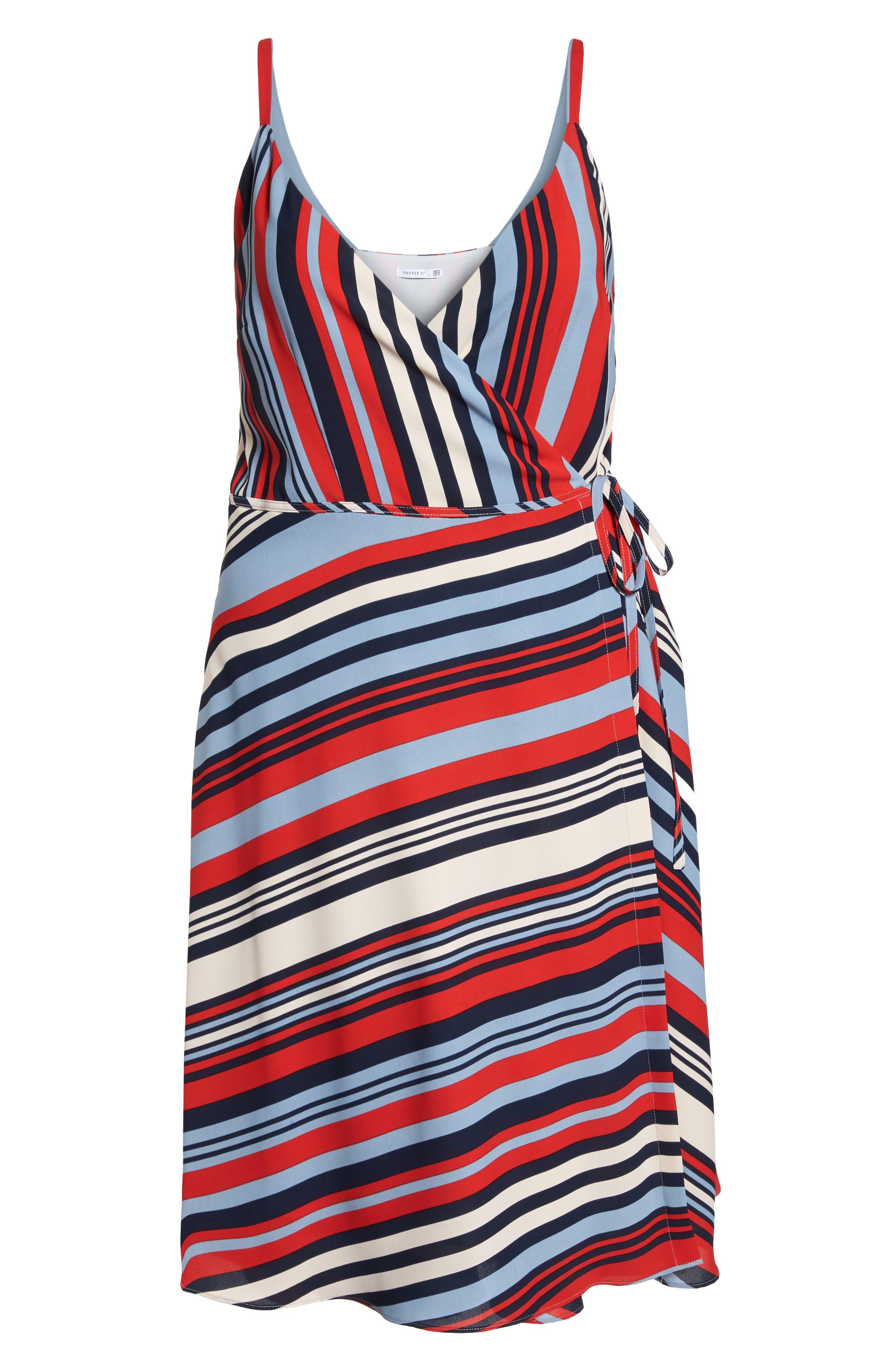 Milan Stripe Wrap Dress,                             Alternate thumbnail 7, color,                             Stripe