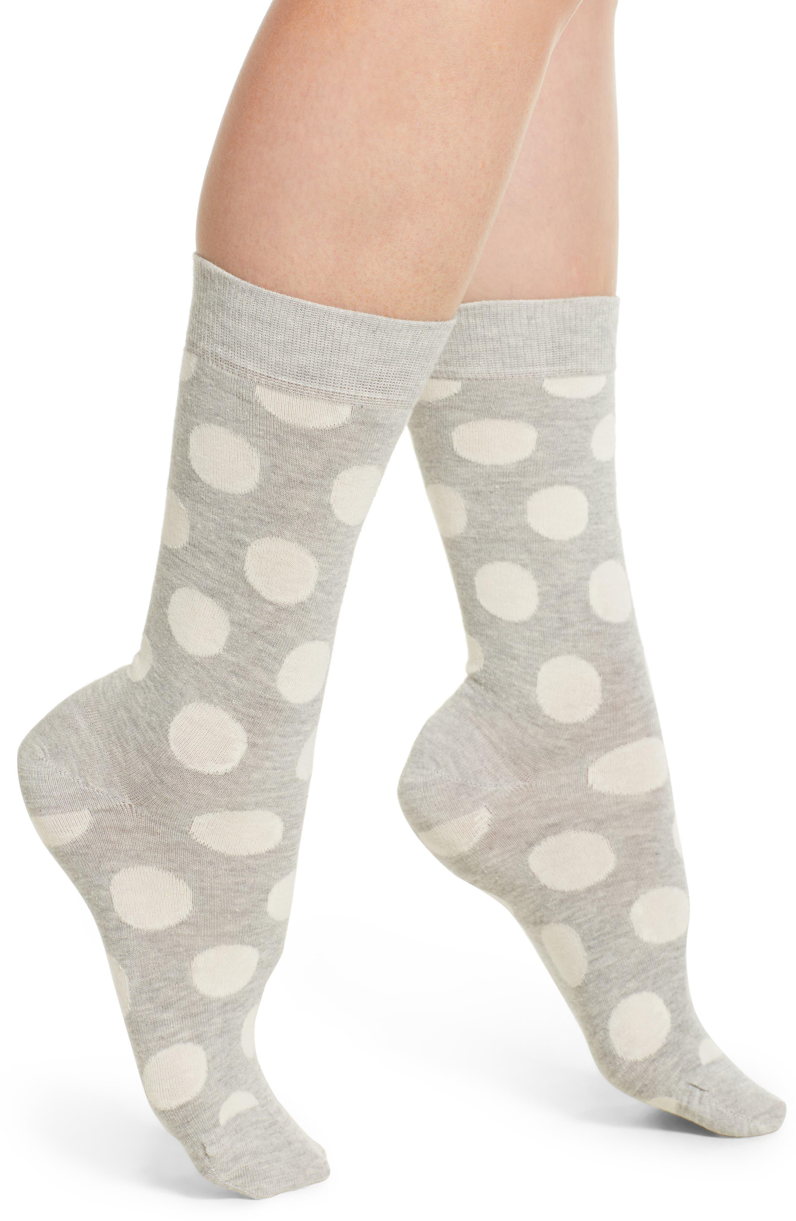 Big Dot Crew Socks,                         Main,                         color, Grey/ White
