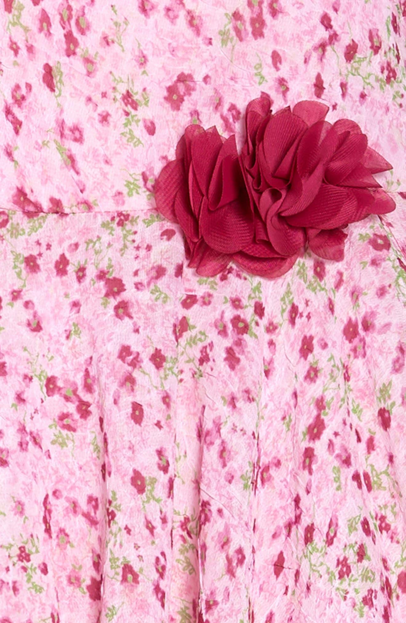 Floral Print Chiffon Dress,                             Alternate thumbnail 2, color,                             Pink