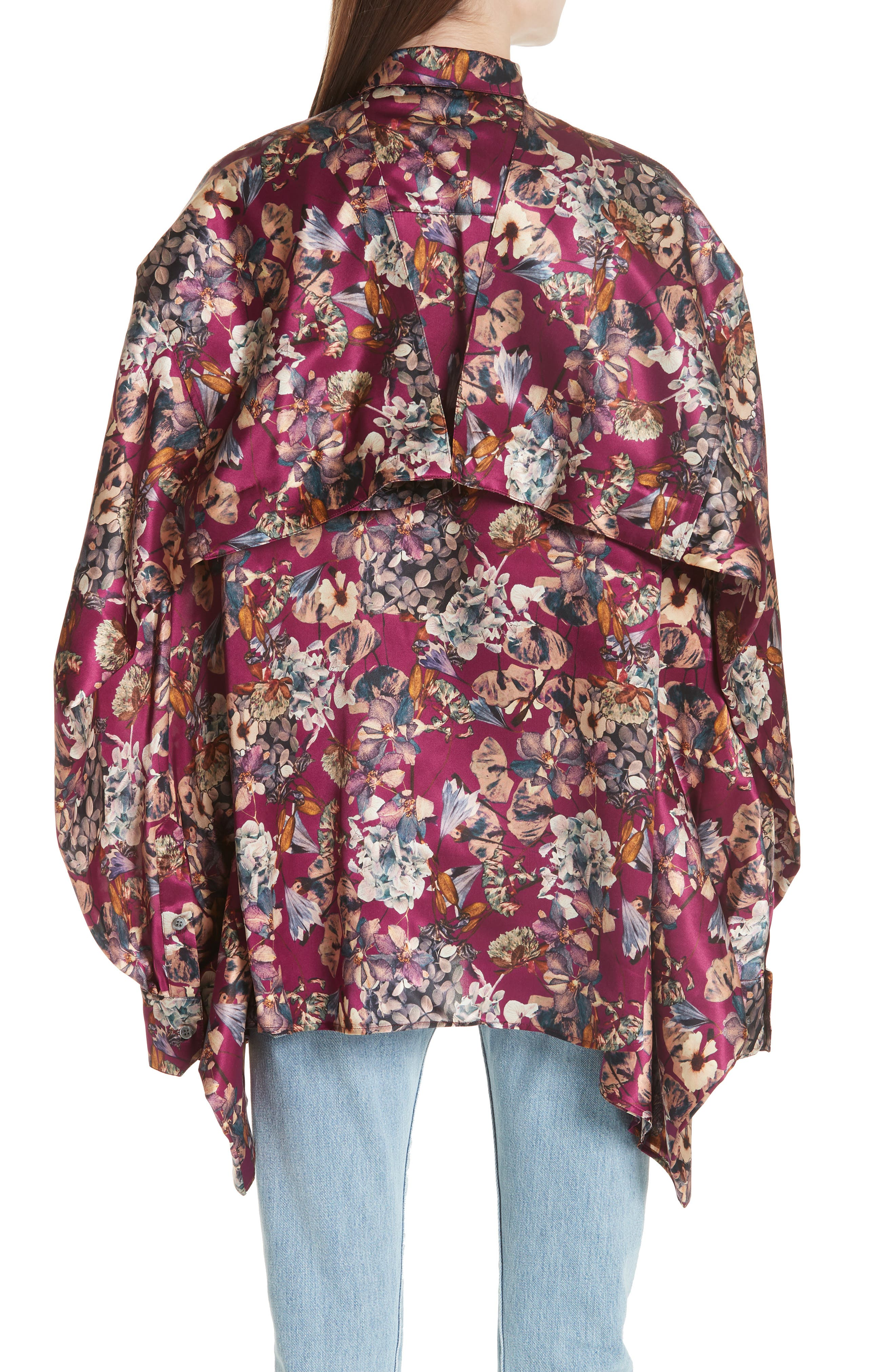 Floral Silk Blouse,                             Alternate thumbnail 2, color,                             Purple1