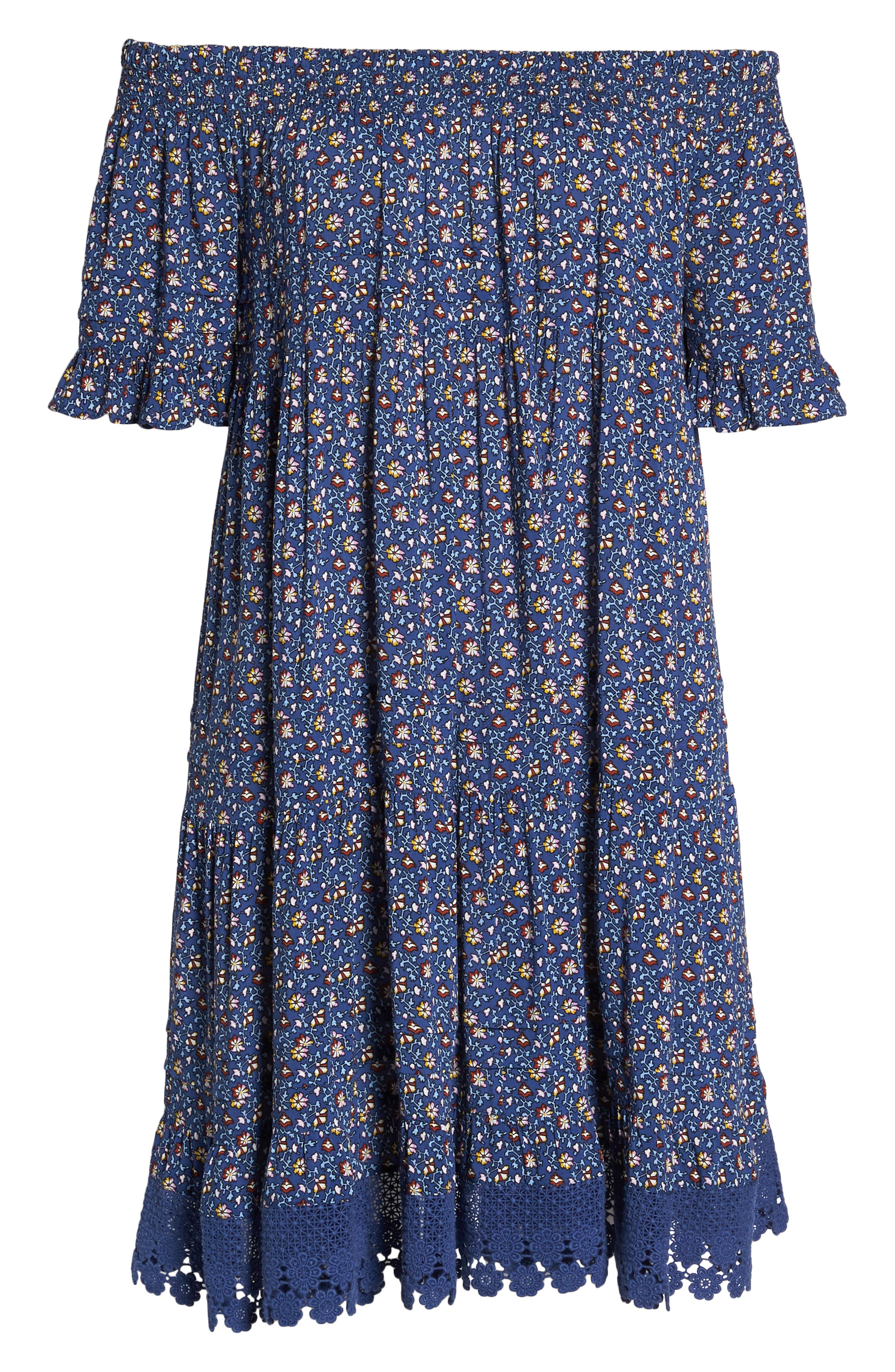 Wild Pansy Off the Shoulder Cover-Up Dress,                             Alternate thumbnail 6, color,                             Navy Wild Pansy
