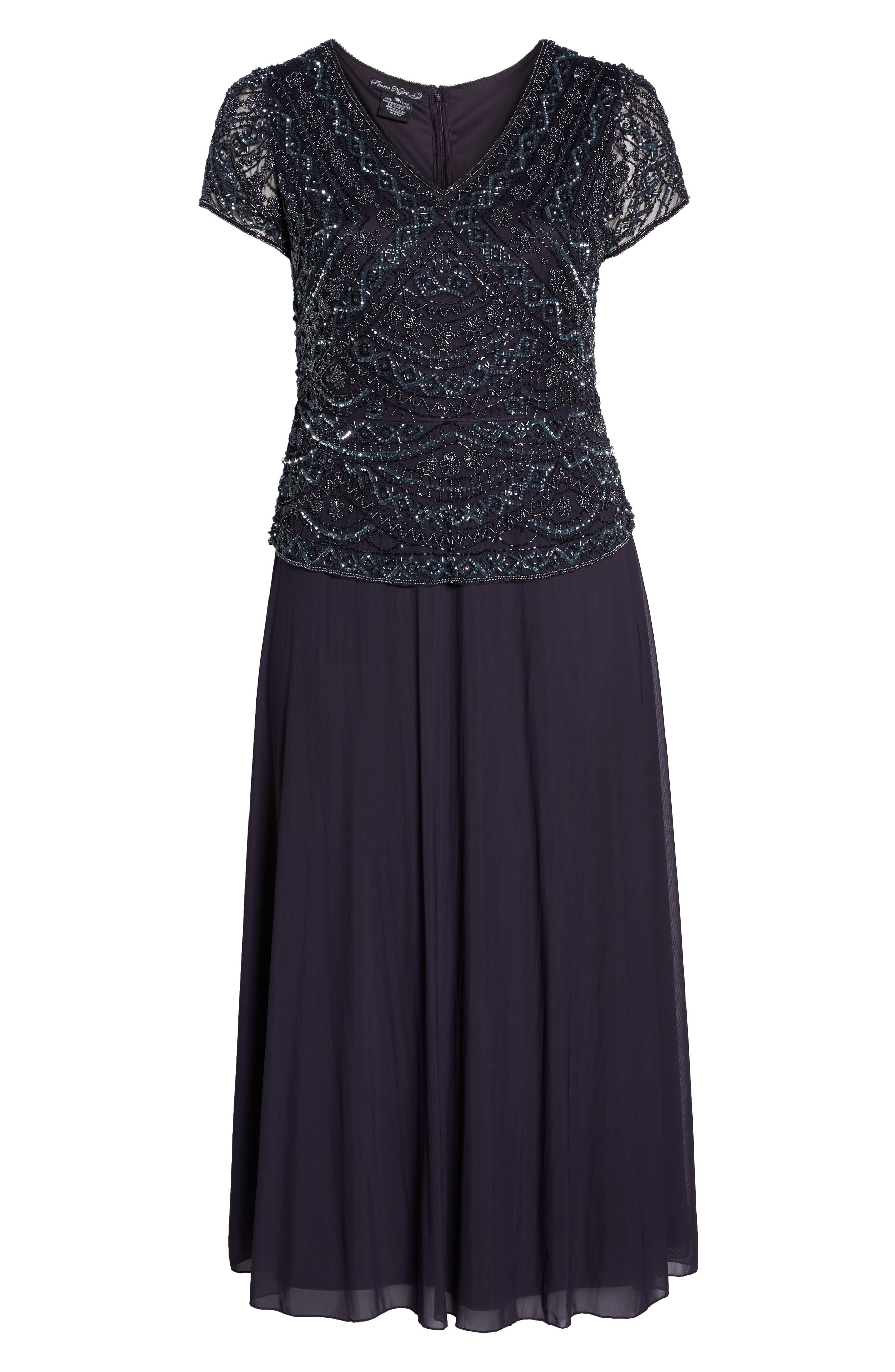 Beaded Mock Two-Piece Gown,                             Alternate thumbnail 6, color,                             Eggplant