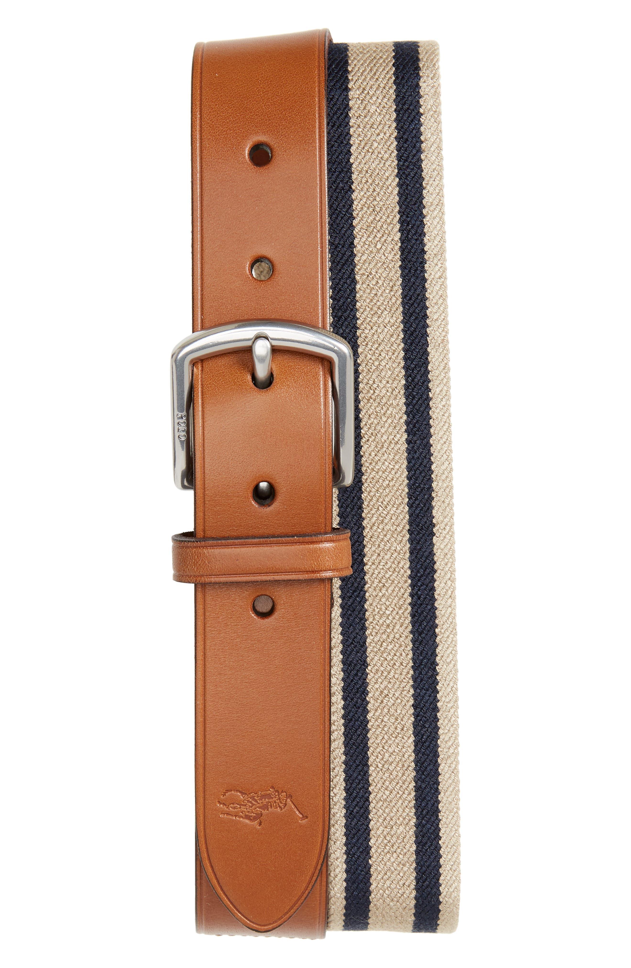 Stretch Web & Leather Belt,                         Main,                         color, Khaki/ Navy