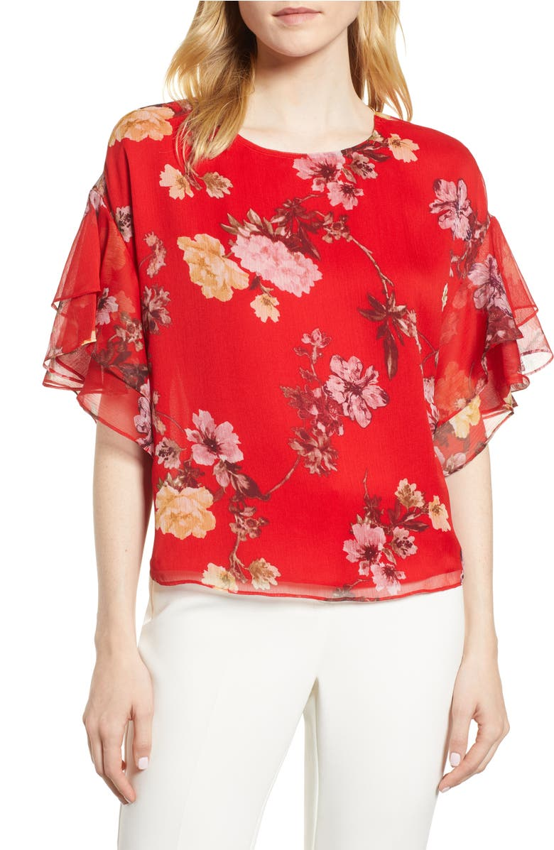 6a22f84243b7 VINCE CAMUTO TIERED RUFFLE SLEEVE GARDEN FLORAL TOP