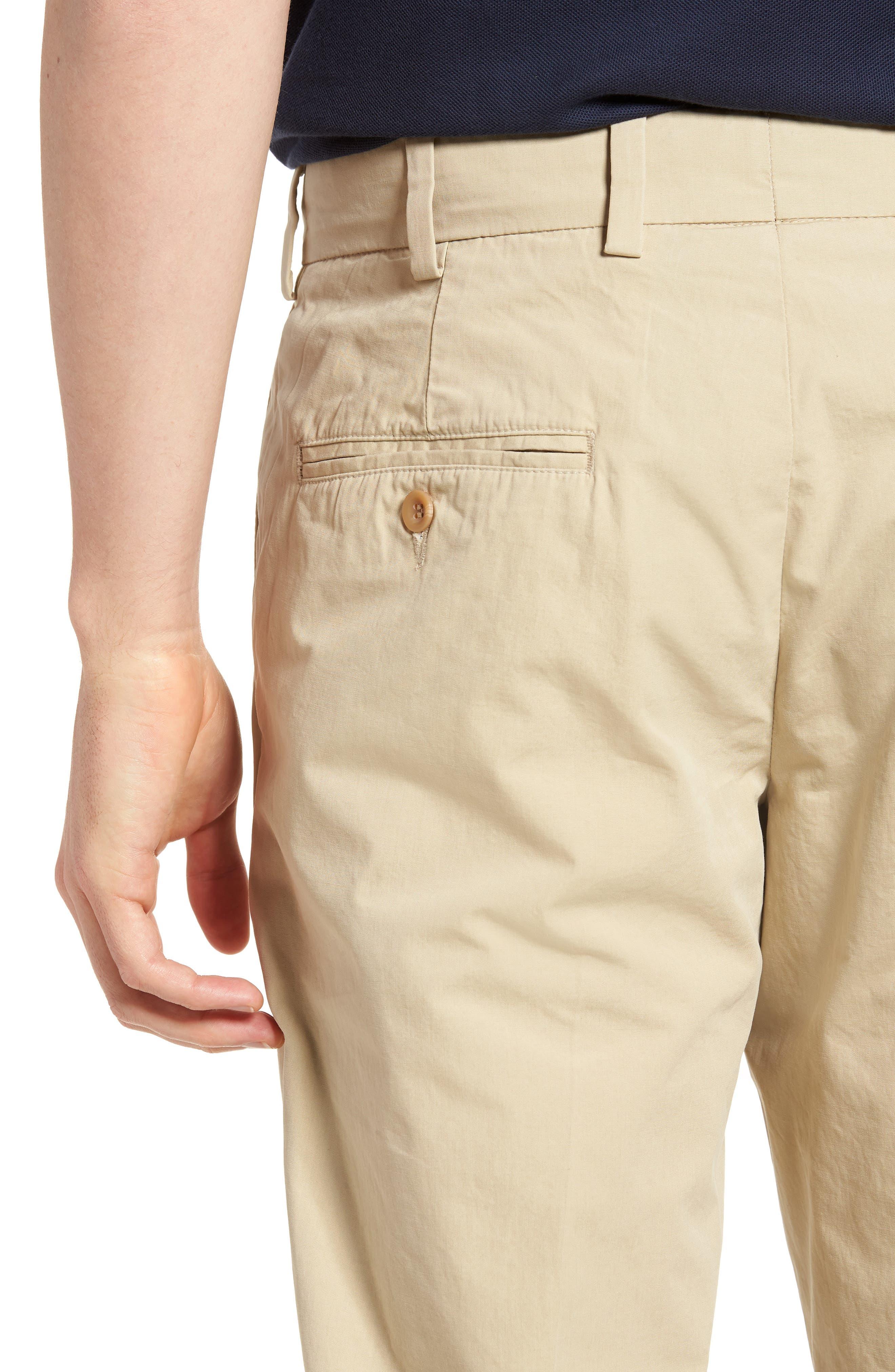 M3 Straight Fit Flat Front Tropical Poplin Pants,                             Alternate thumbnail 4, color,                             Khaki