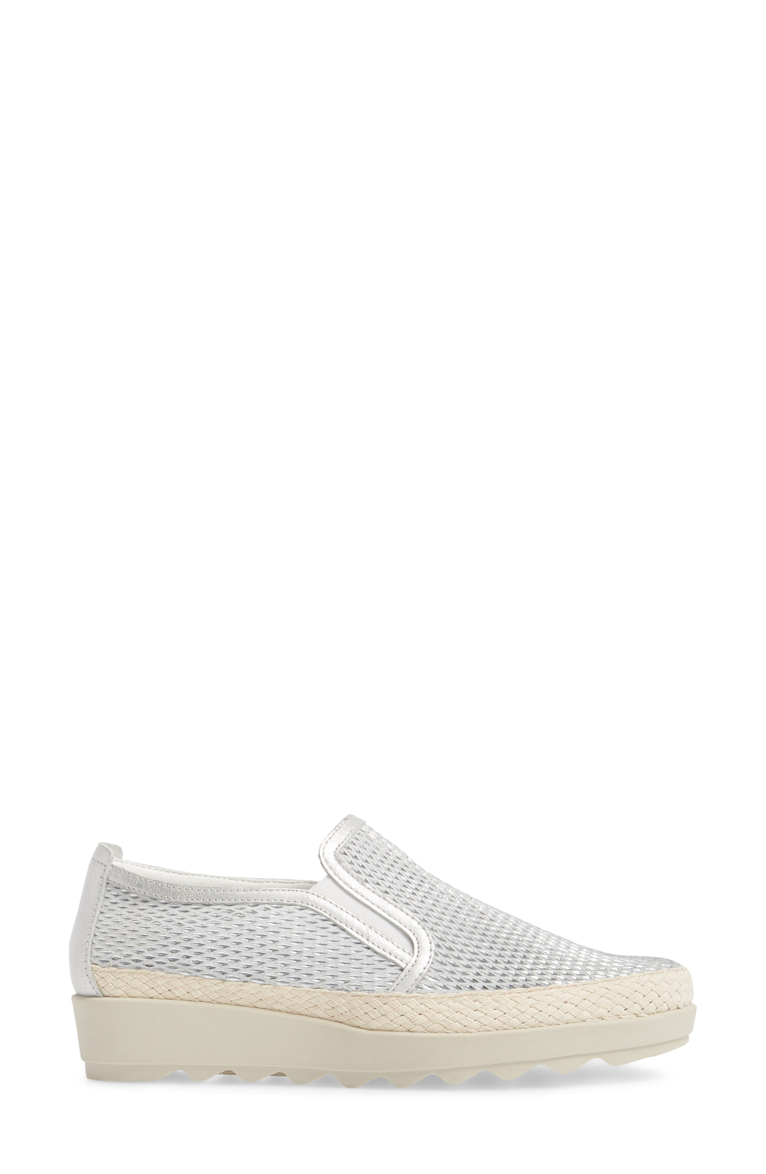 Call Me Perforated Slip-On Sneaker,                             Alternate thumbnail 3, color,                             White/ Silver Leather