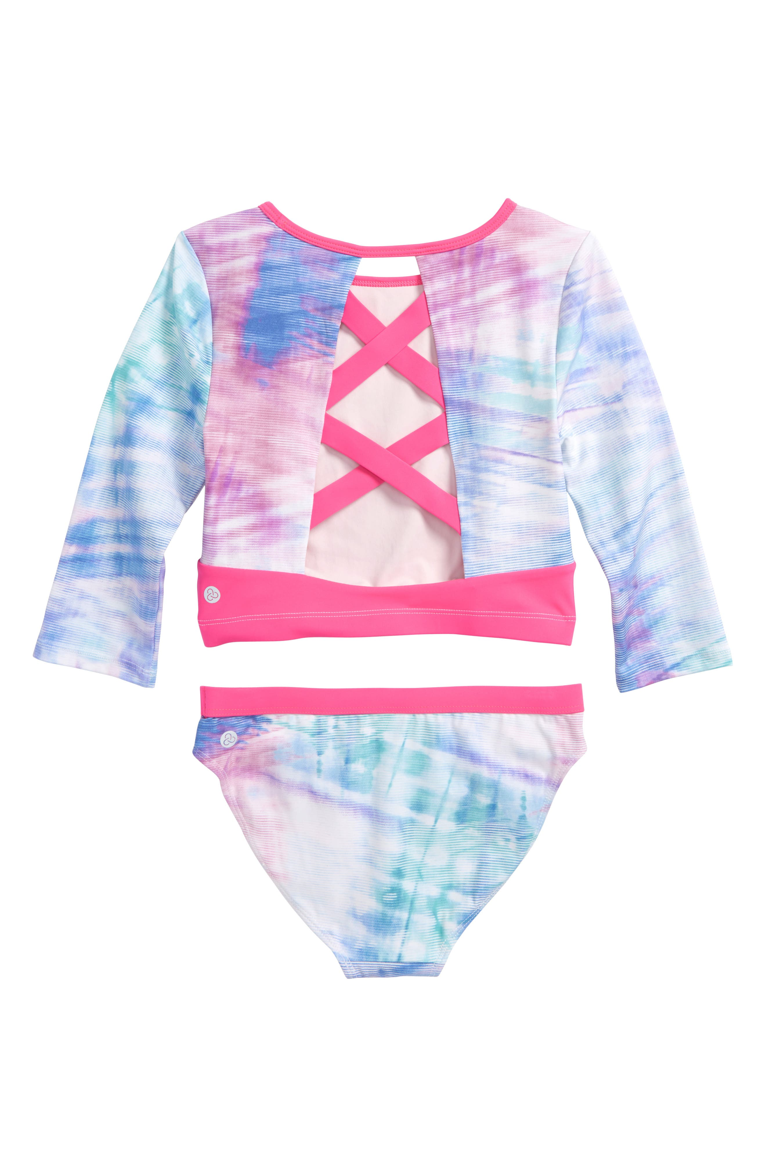 Scoop Two-Piece Rashguard Swimsuit,                             Alternate thumbnail 2, color,                             Pink Neon Striped Wash