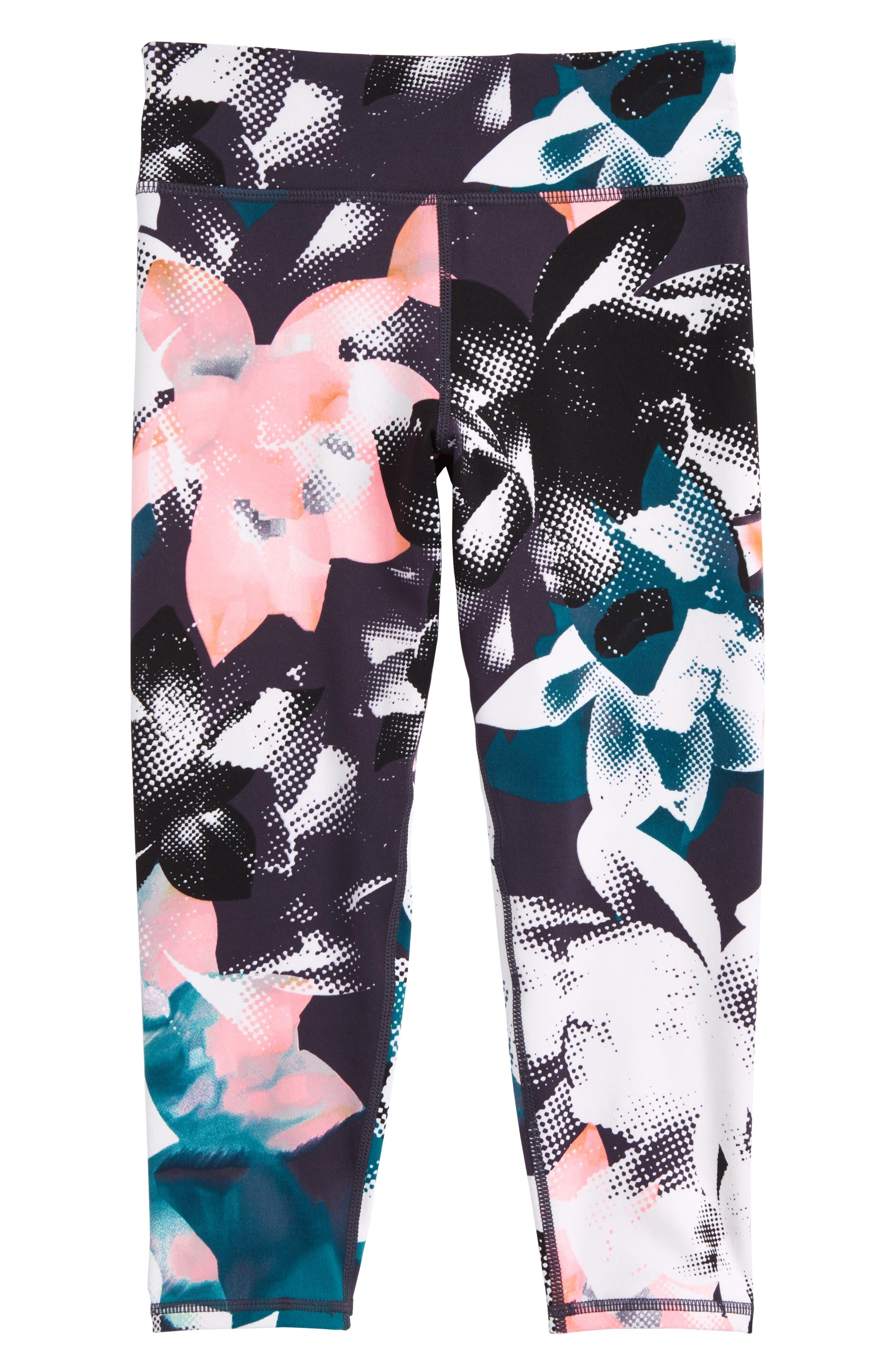 Crop Leggings,                         Main,                         color, Black Halftone Floral