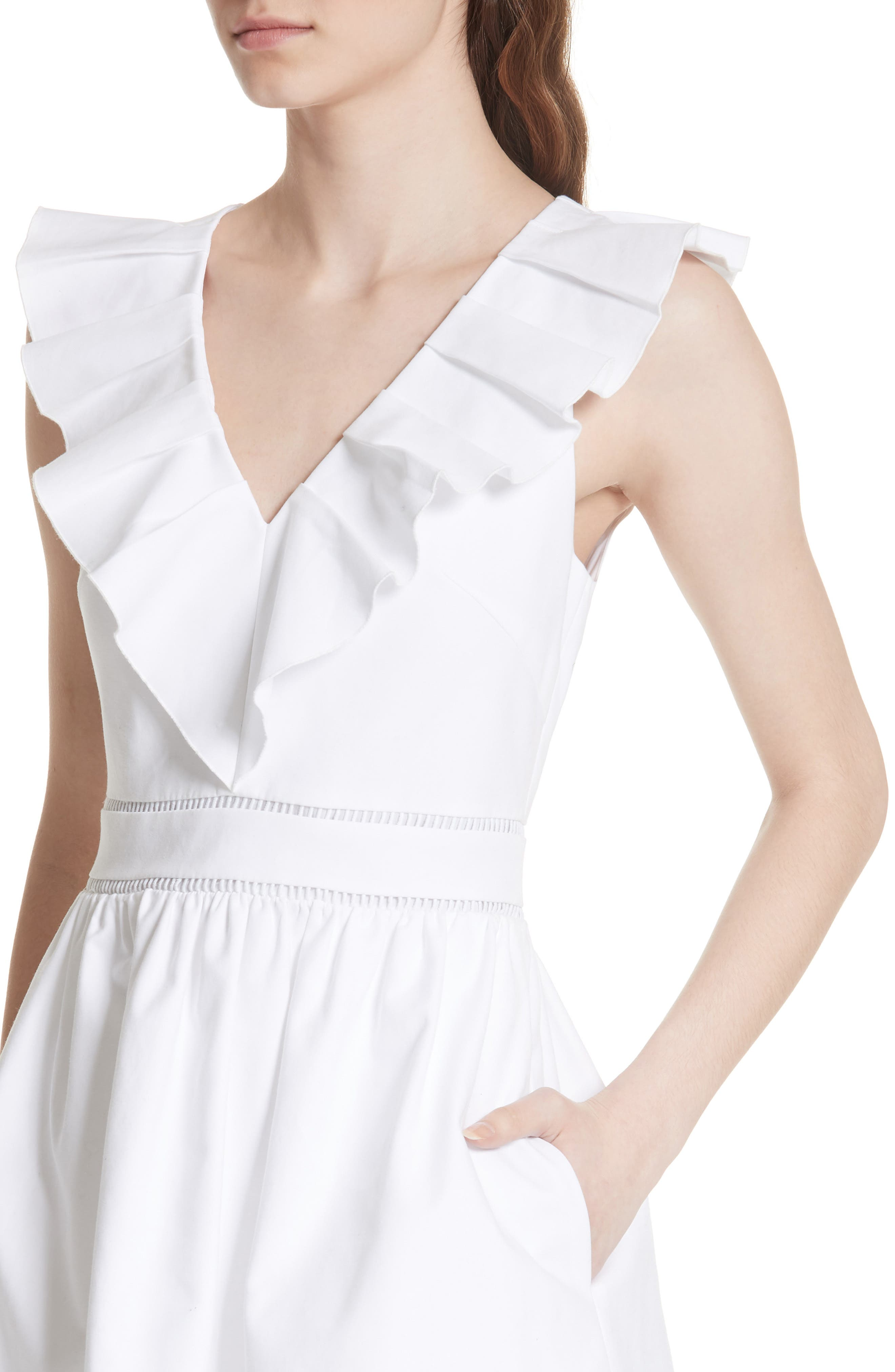 sleeveless ruffle neck stretch cotton dress,                             Alternate thumbnail 4, color,                             Fresh White