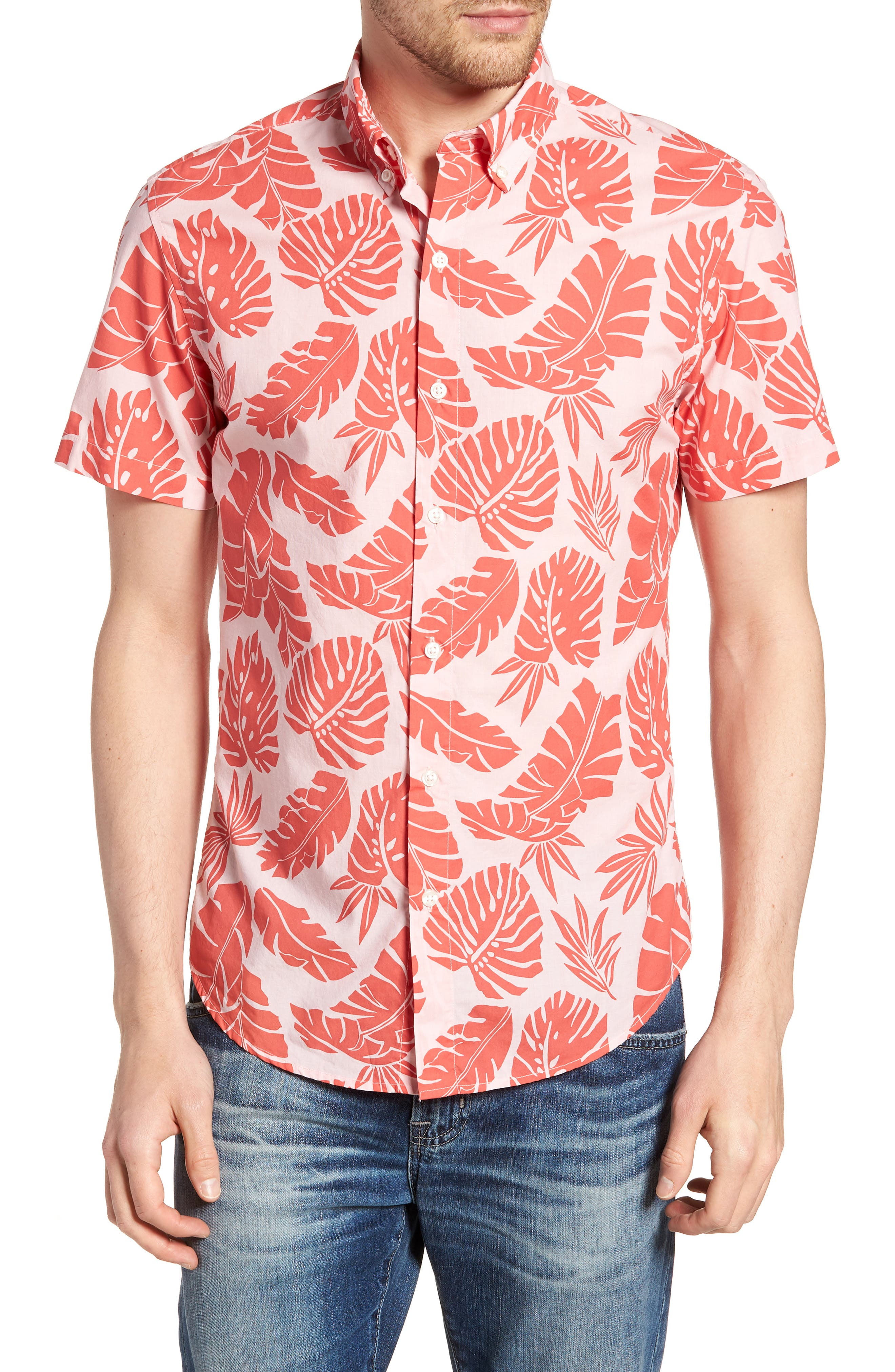 Riviera Slim Fit Palm Print Sport Shirt,                         Main,                         color, Palm Scatter - Coral Fan