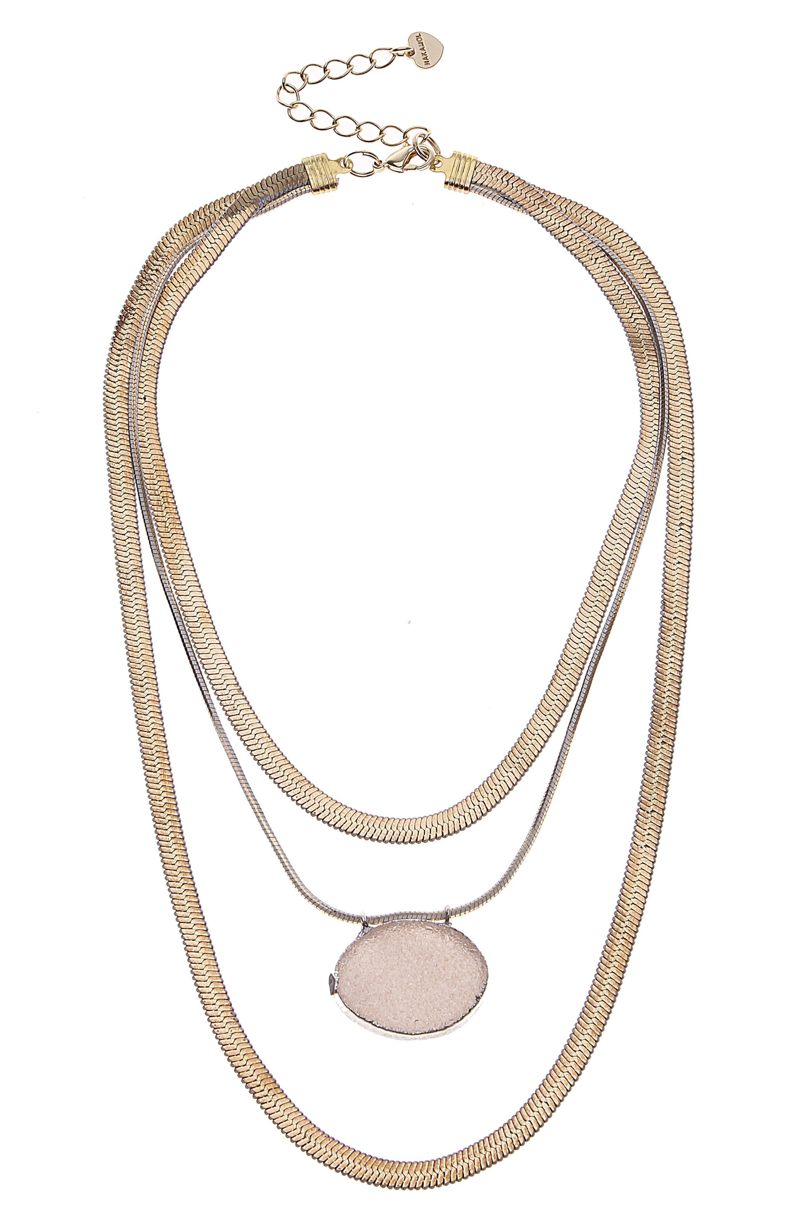 Layered Snake Chain & Drusy Pendant Necklace,                             Main thumbnail 1, color,                             Gold