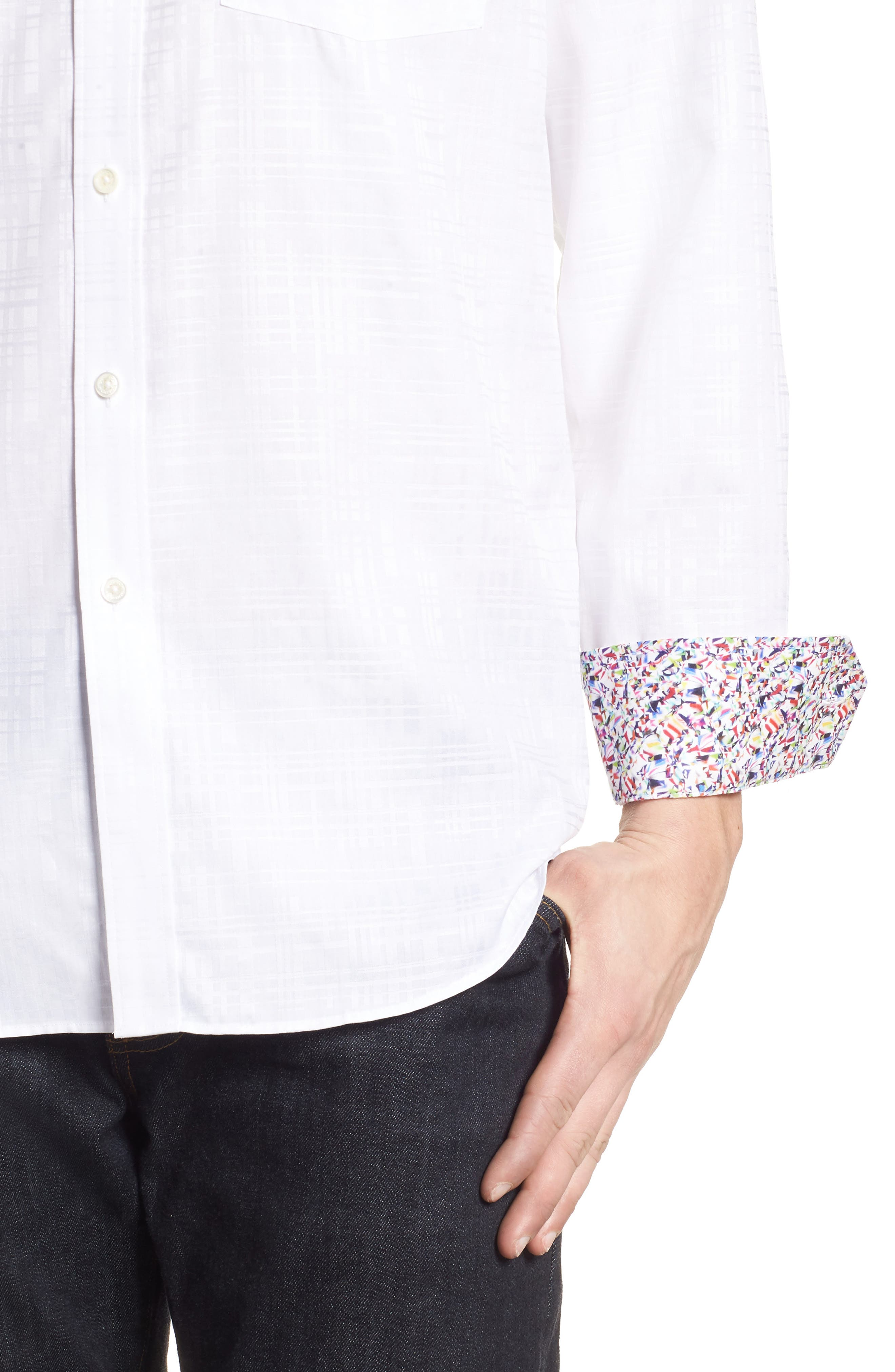 Classic Fit Tonal Check Sport Shirt,                             Alternate thumbnail 2, color,                             White