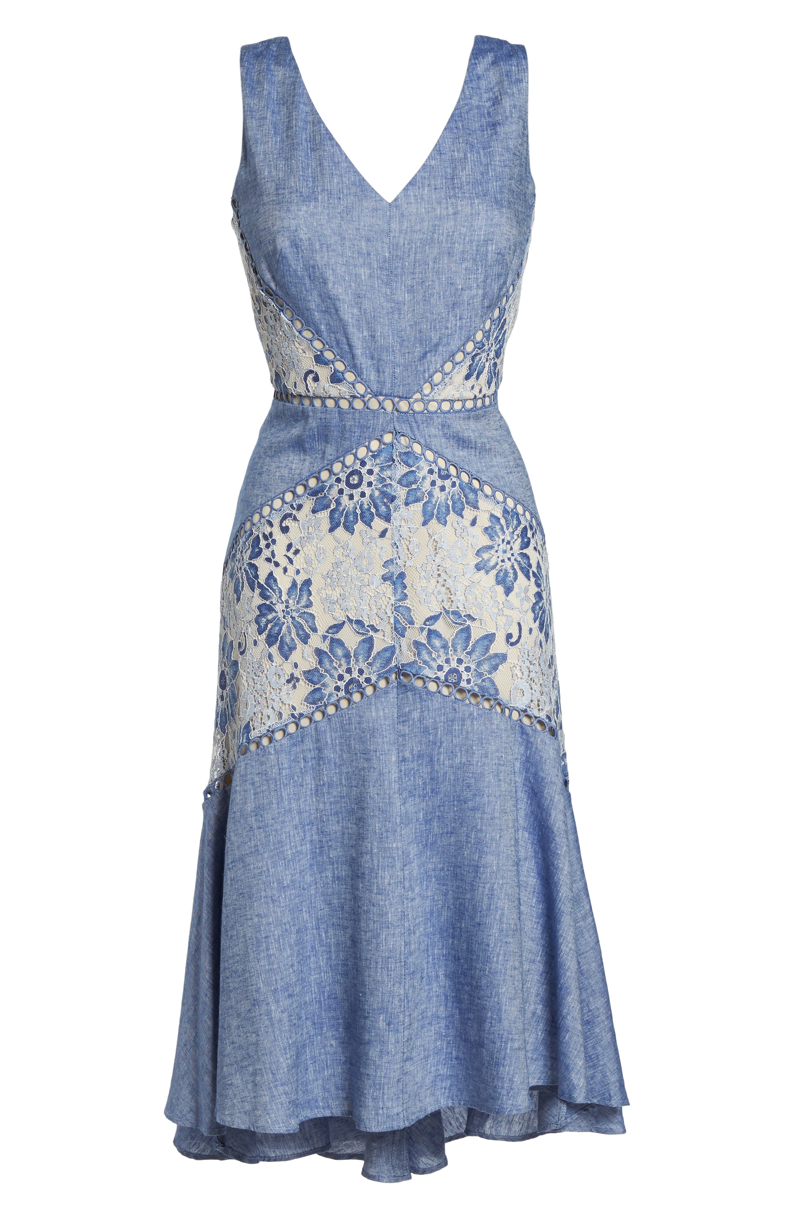 Chambray & Lace Midi Dress,                             Alternate thumbnail 7, color,                             Chambray Nude