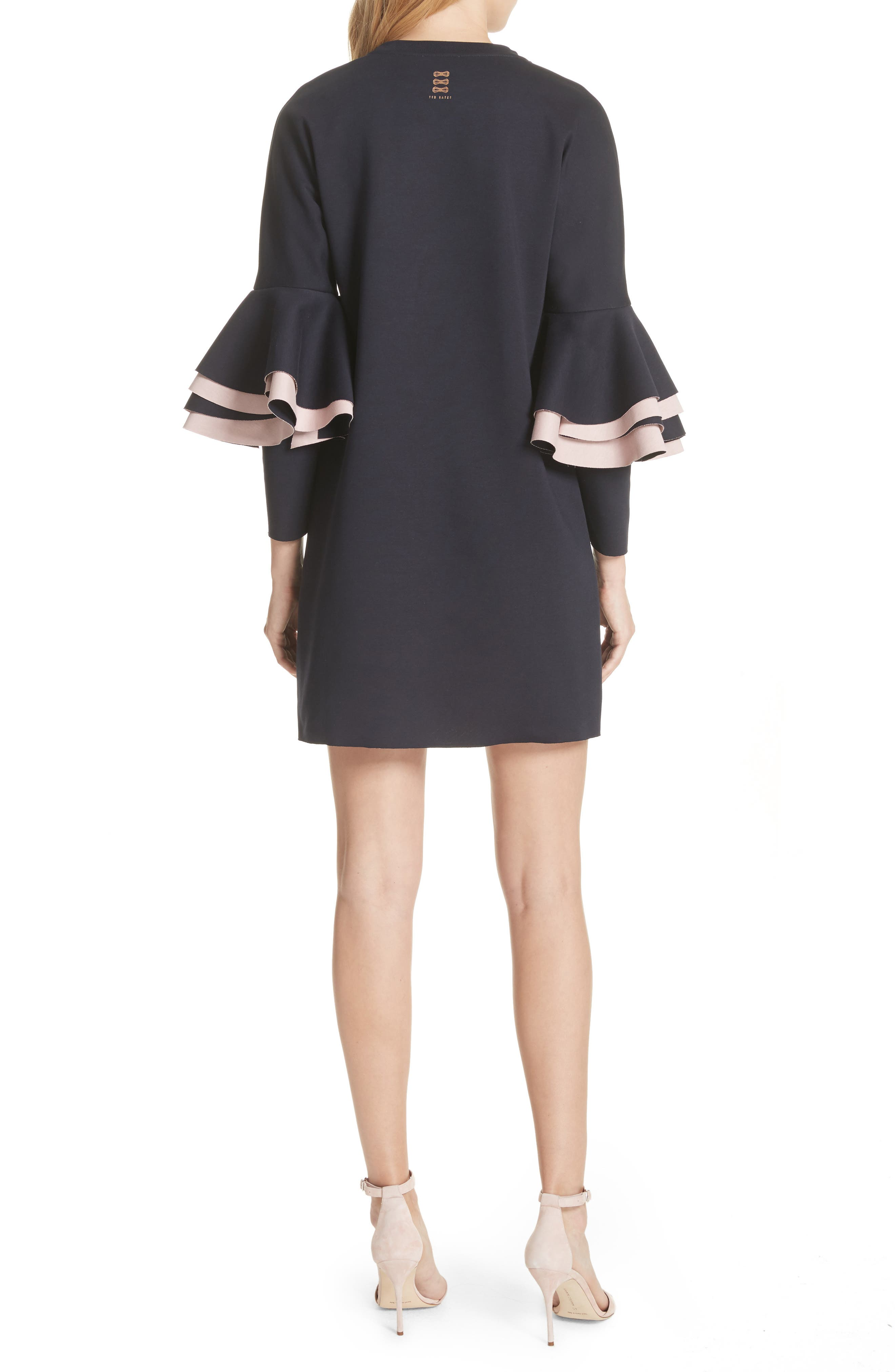 Chloae Frill Sleeve Sweatshirt Dress,                             Alternate thumbnail 2, color,                             Navy