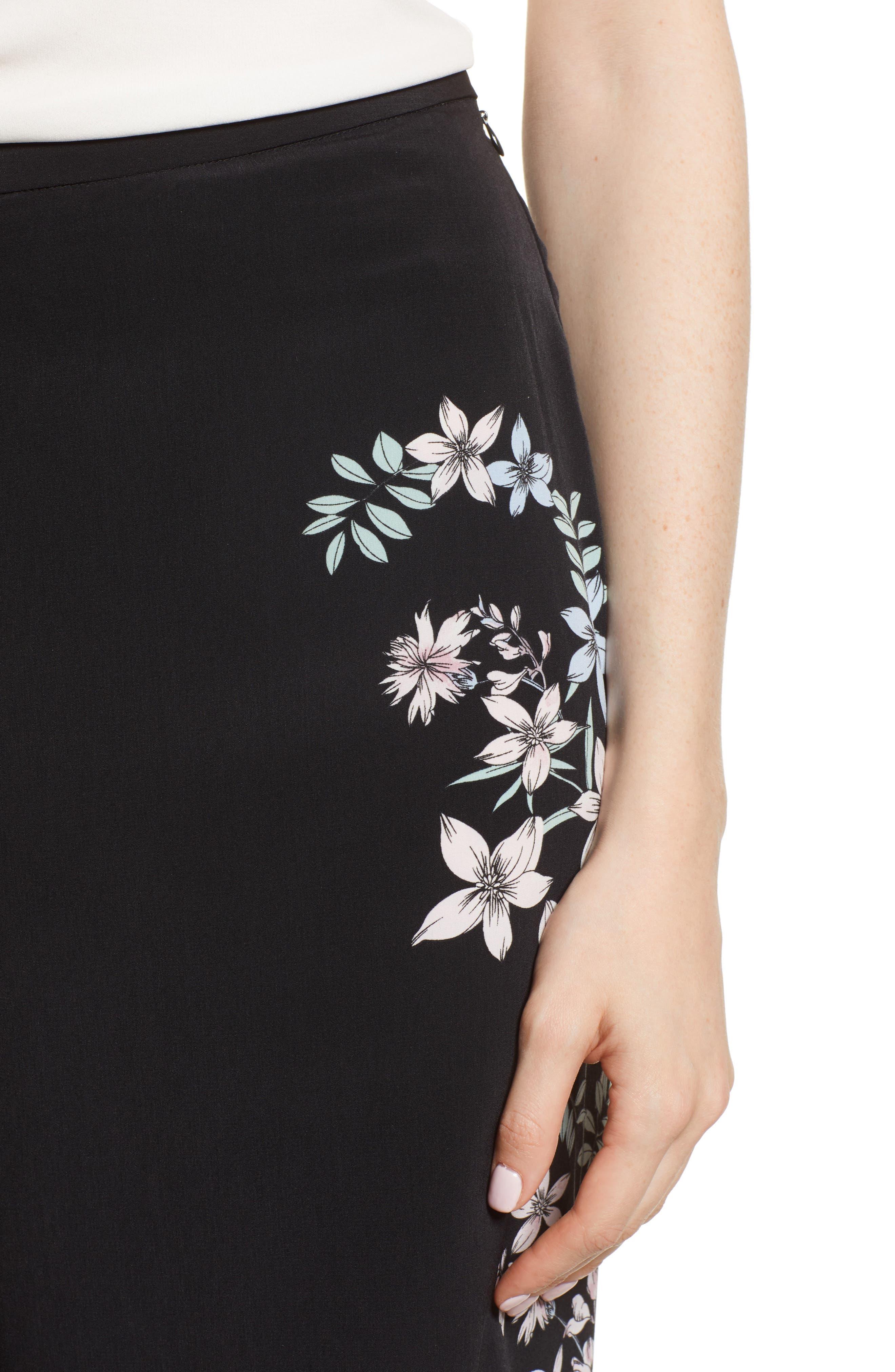 Floral Wide Leg Crop Pants,                             Alternate thumbnail 4, color,                             Rich Black