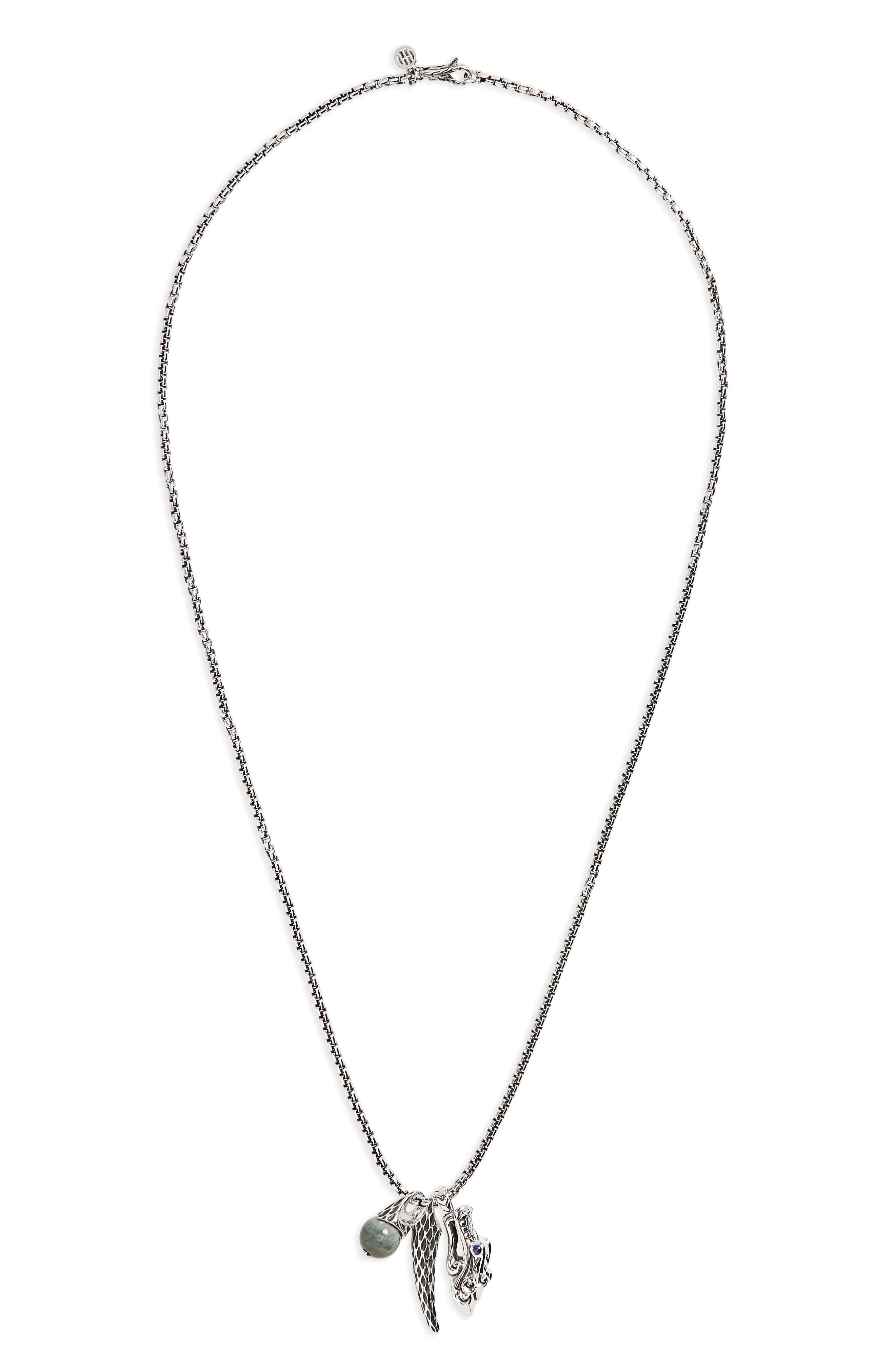 Legends Naga Triple Charm Pendant Necklace,                             Main thumbnail 1, color,                             Silver/ Blue Sapphire