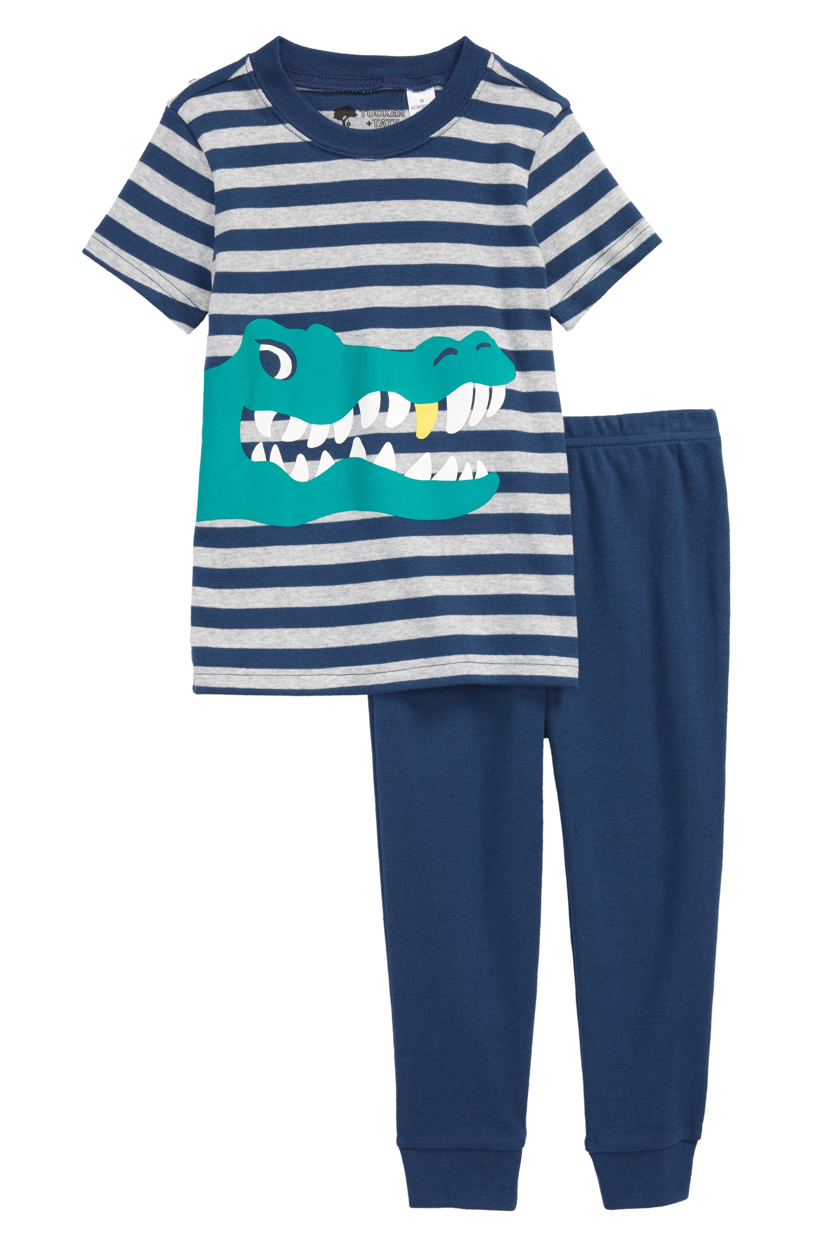 Two-Piece Fitted Pajamas,                         Main,                         color, Navy Denim- Grey Croc