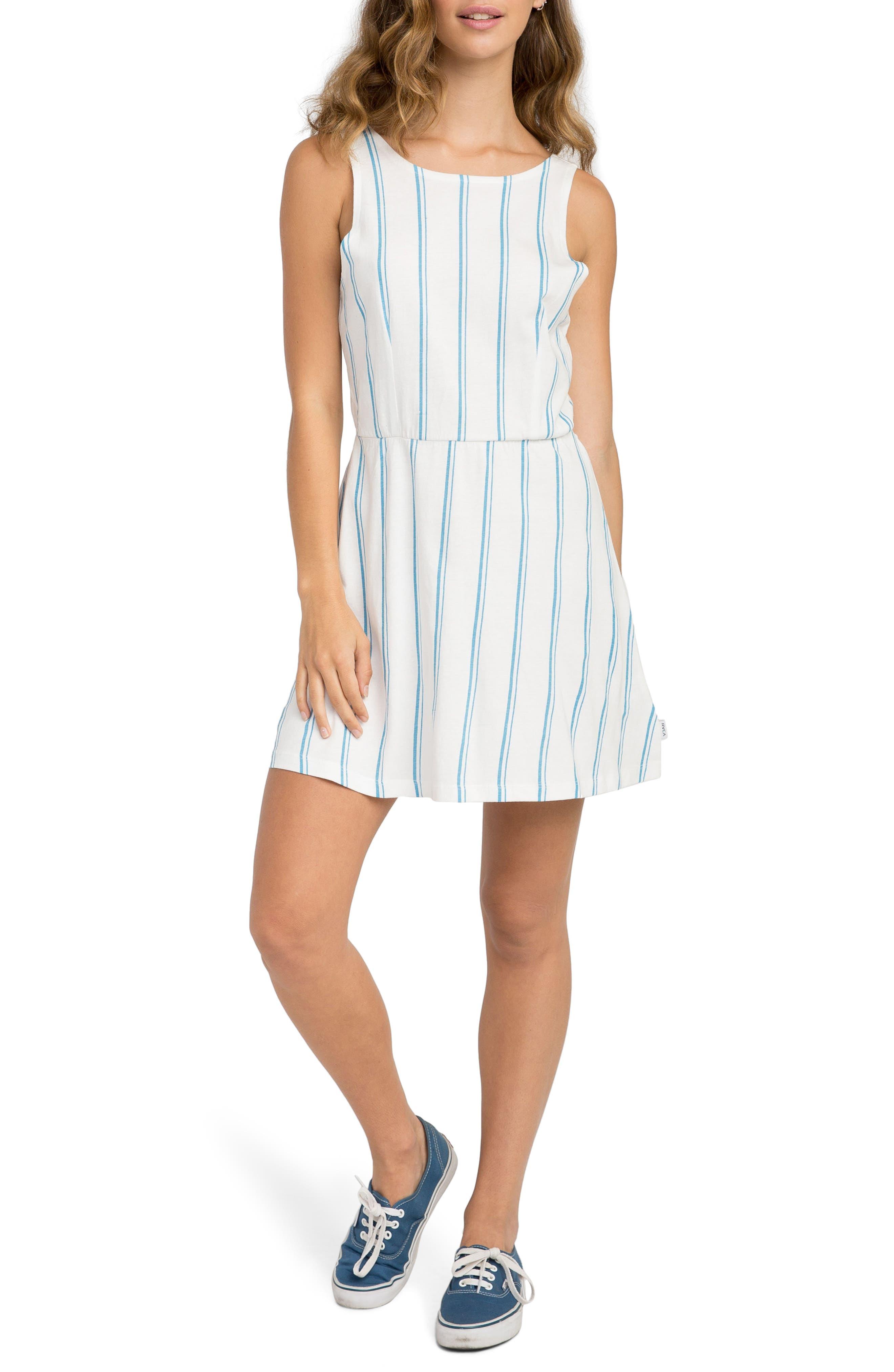 Peony Stripe Sundress,                             Main thumbnail 1, color,                             Vintage White