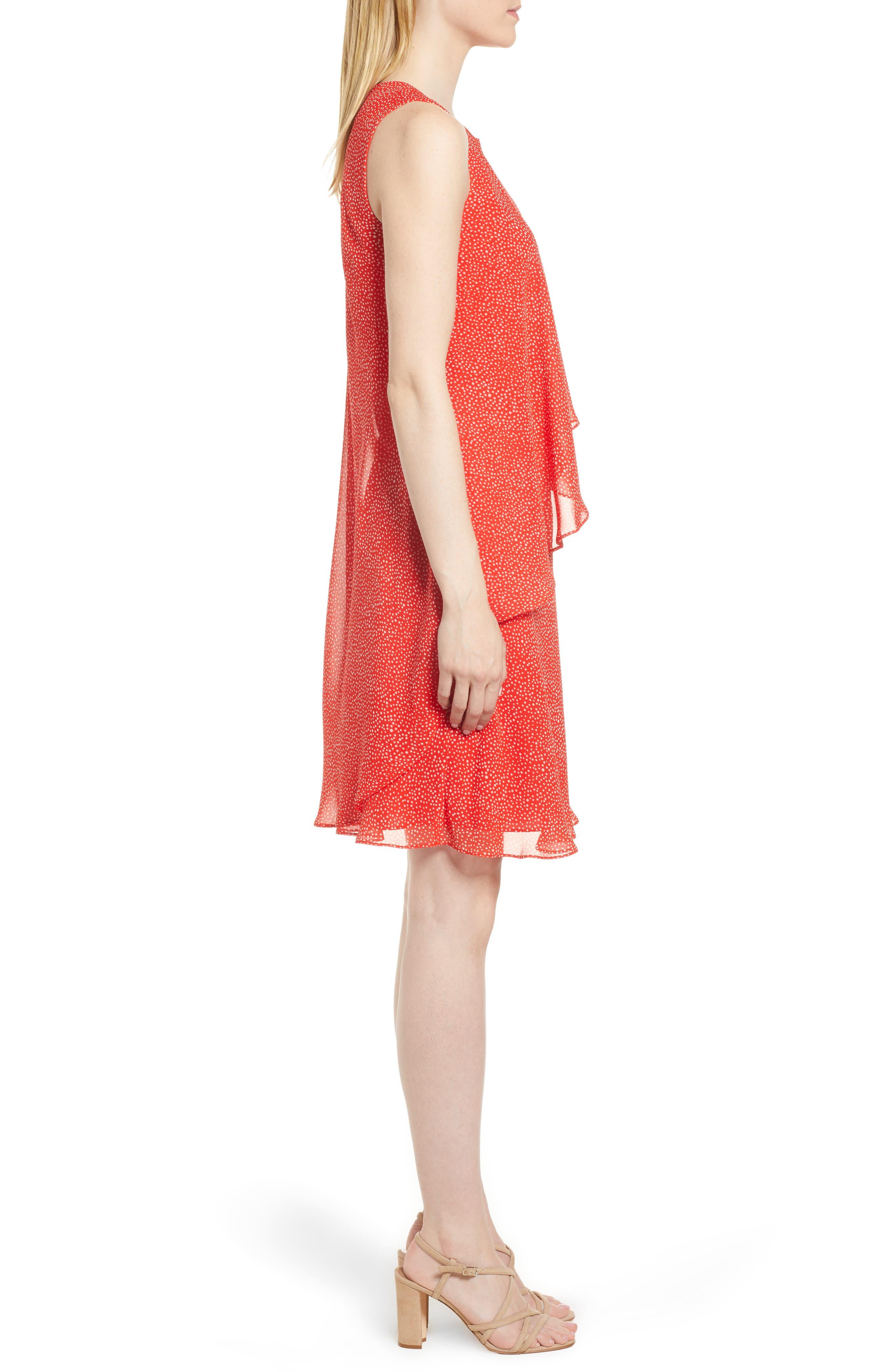 Chiffon Overlay A-Line Dress,                             Alternate thumbnail 3, color,                             Tomato/ White