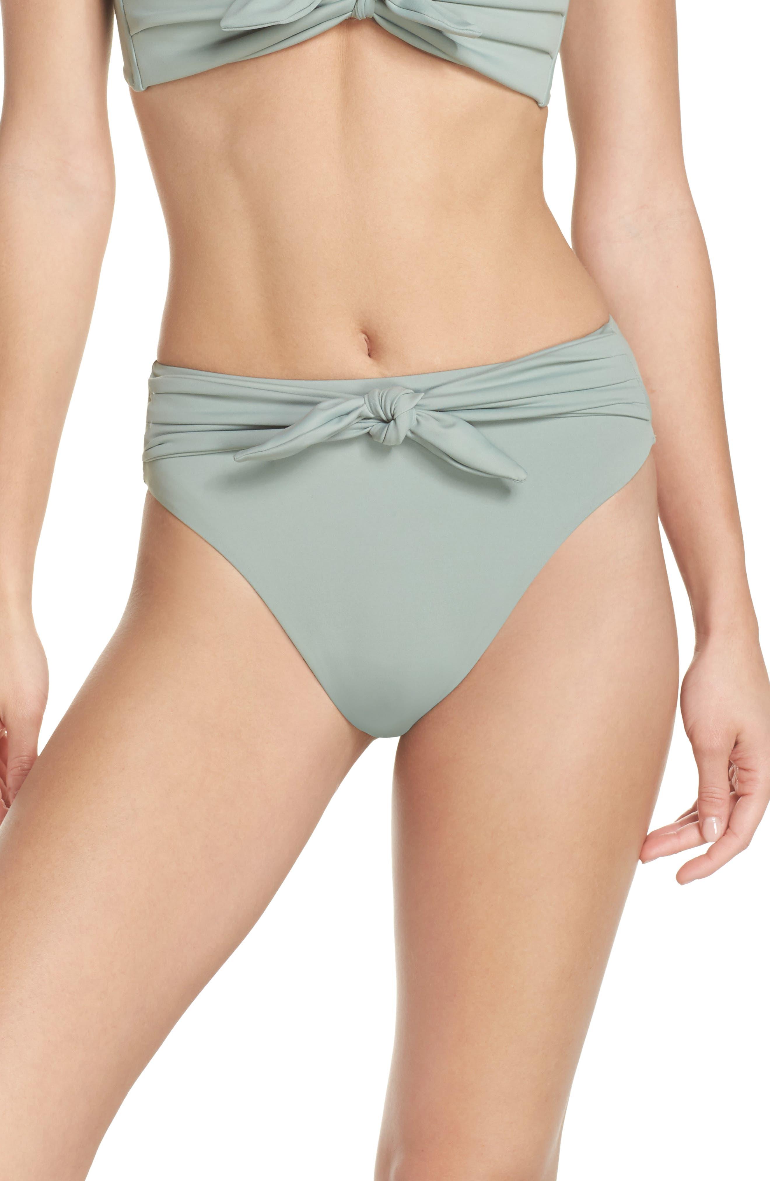 Paula Tie-Up Bikini Bottoms,                         Main,                         color, Pistache Green