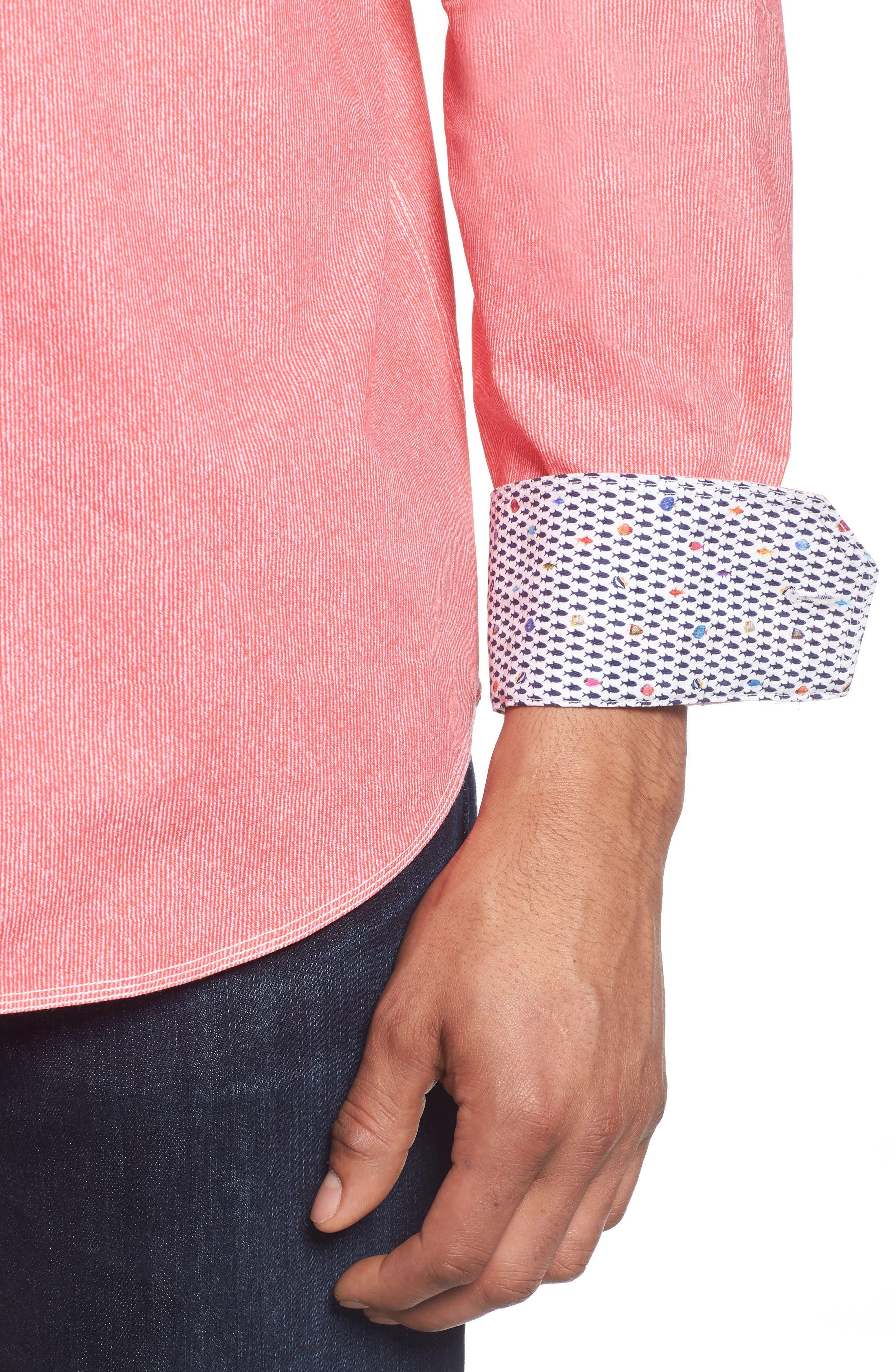 Classic Fit Stripe Sport Shirt,                             Alternate thumbnail 4, color,                             Pink