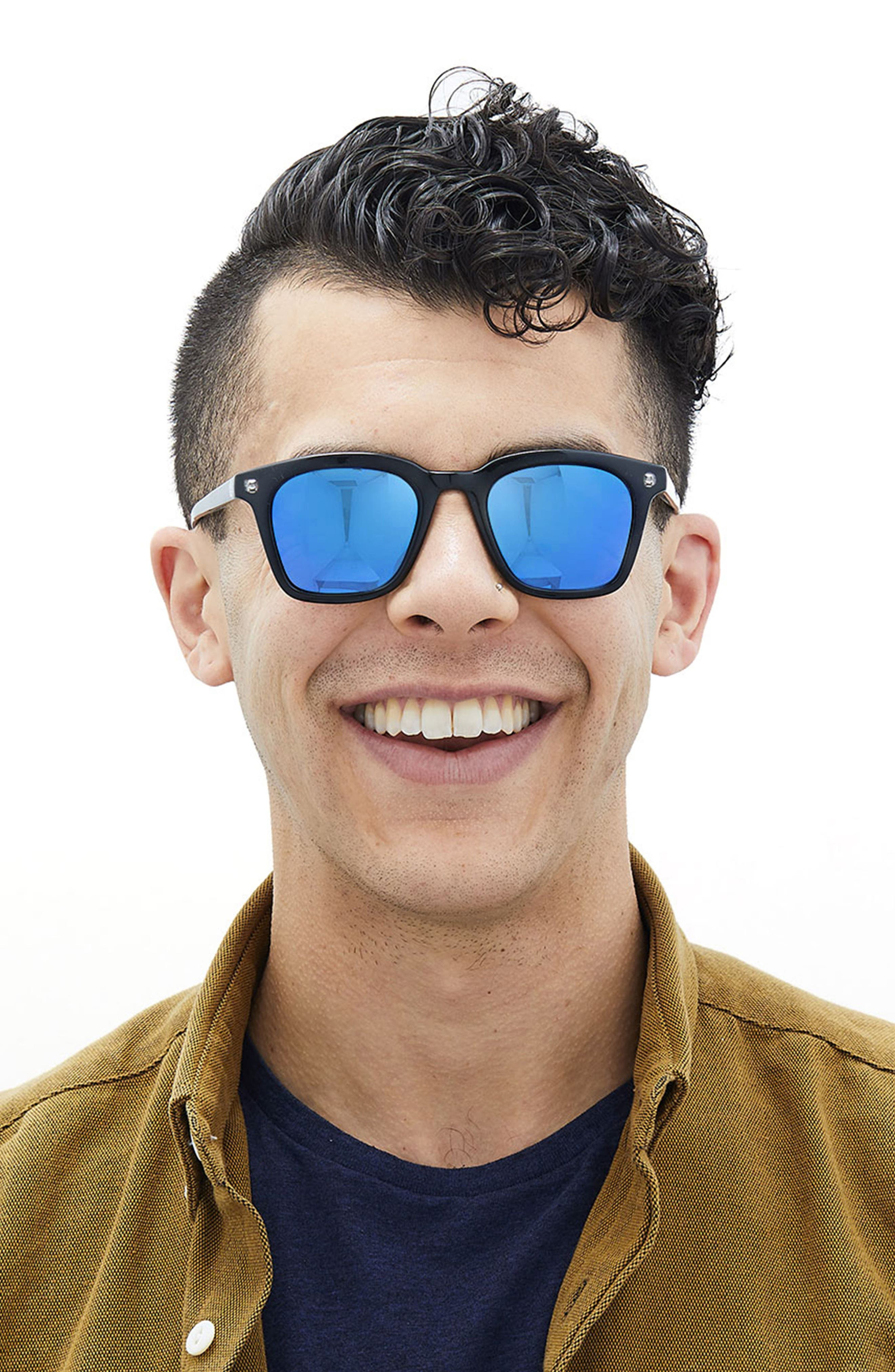 Moraga 47mm Polarized Sunglasses,                             Alternate thumbnail 2, color,                             Black Aqua
