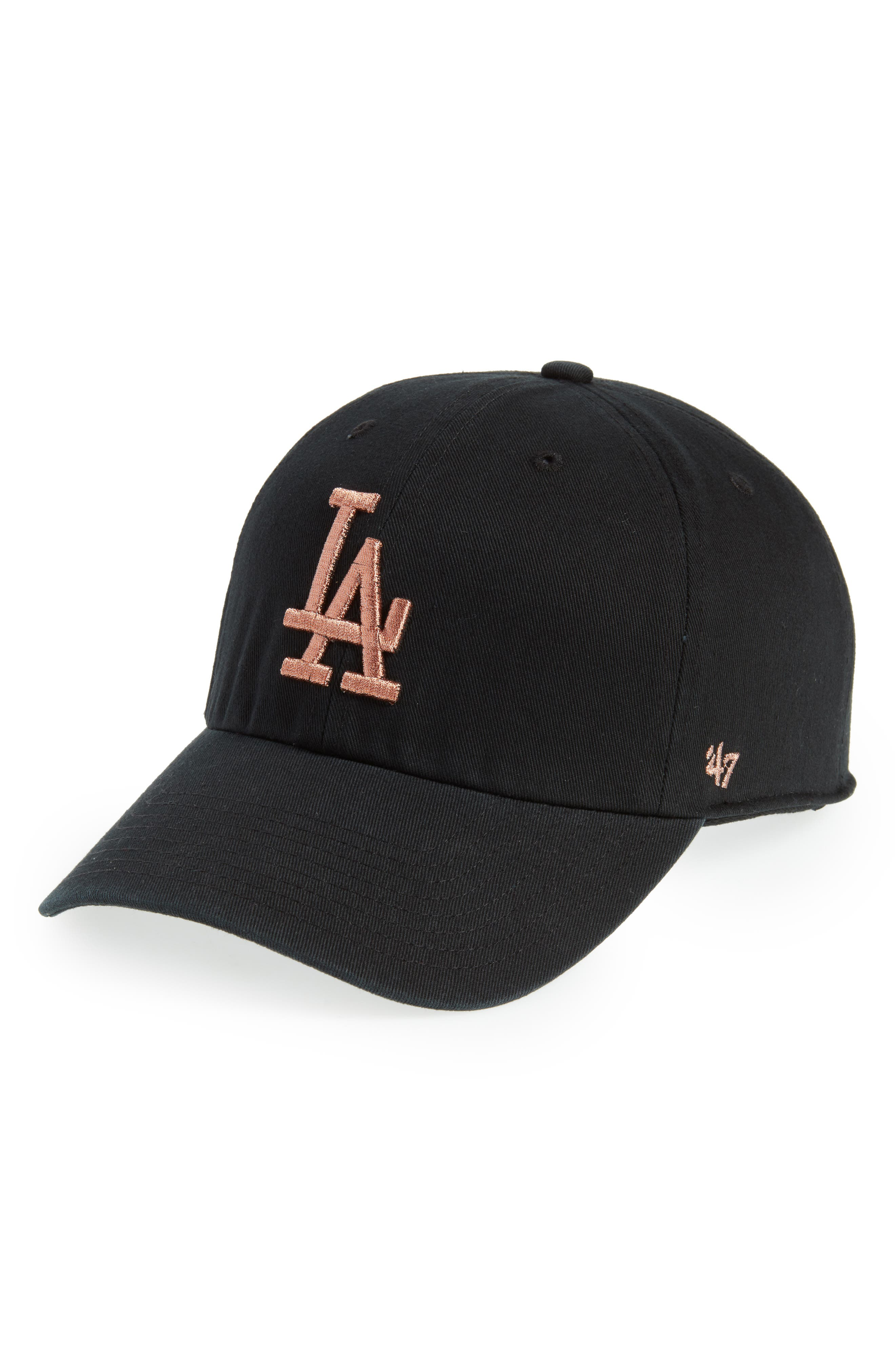 Los Angeles Dodgers Metallic Embroidery Cap,                             Main thumbnail 1, color,                             Black