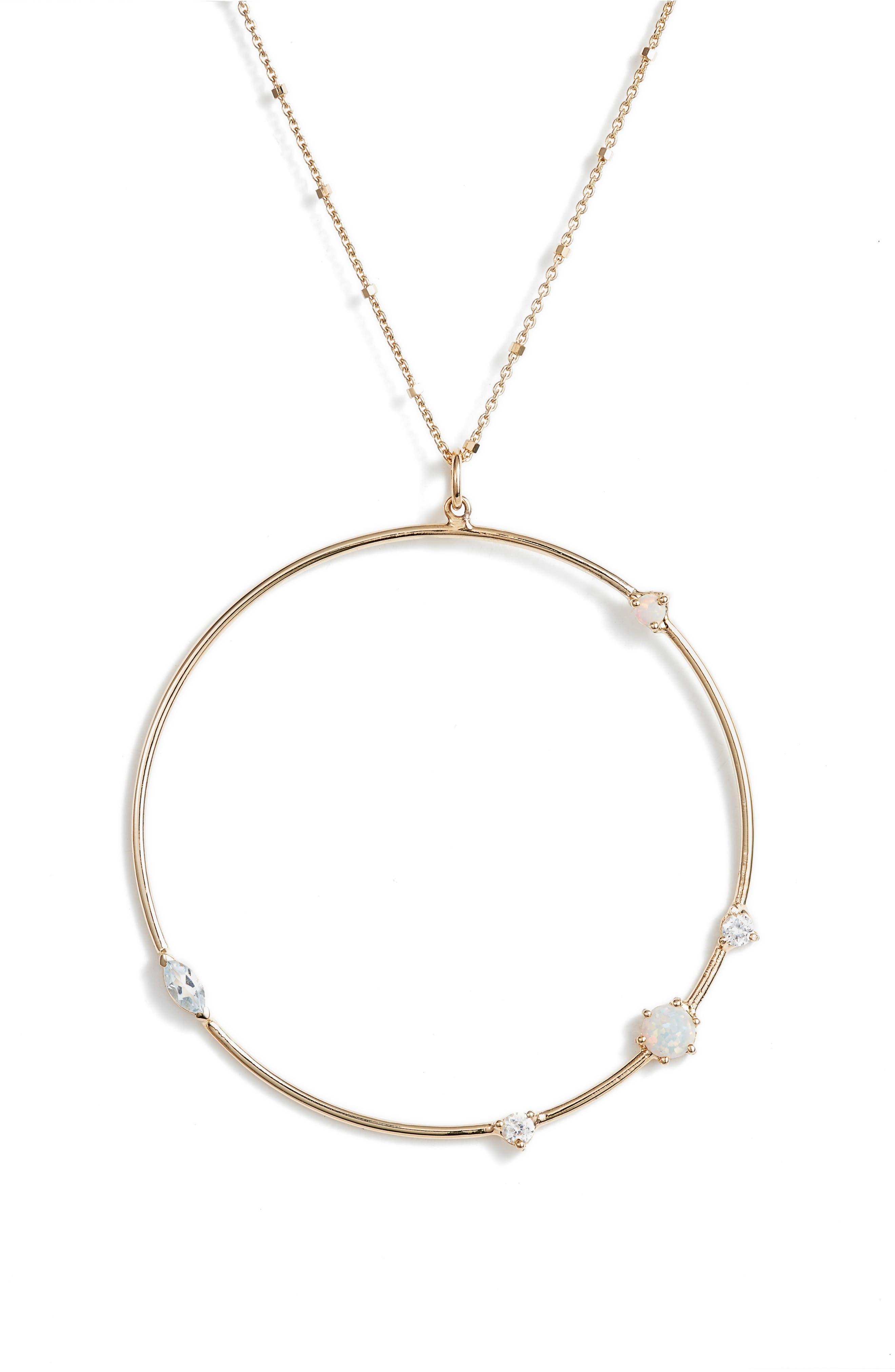 Sydney Large Open Ring Pendant Necklace,                             Alternate thumbnail 2, color,                             Gold