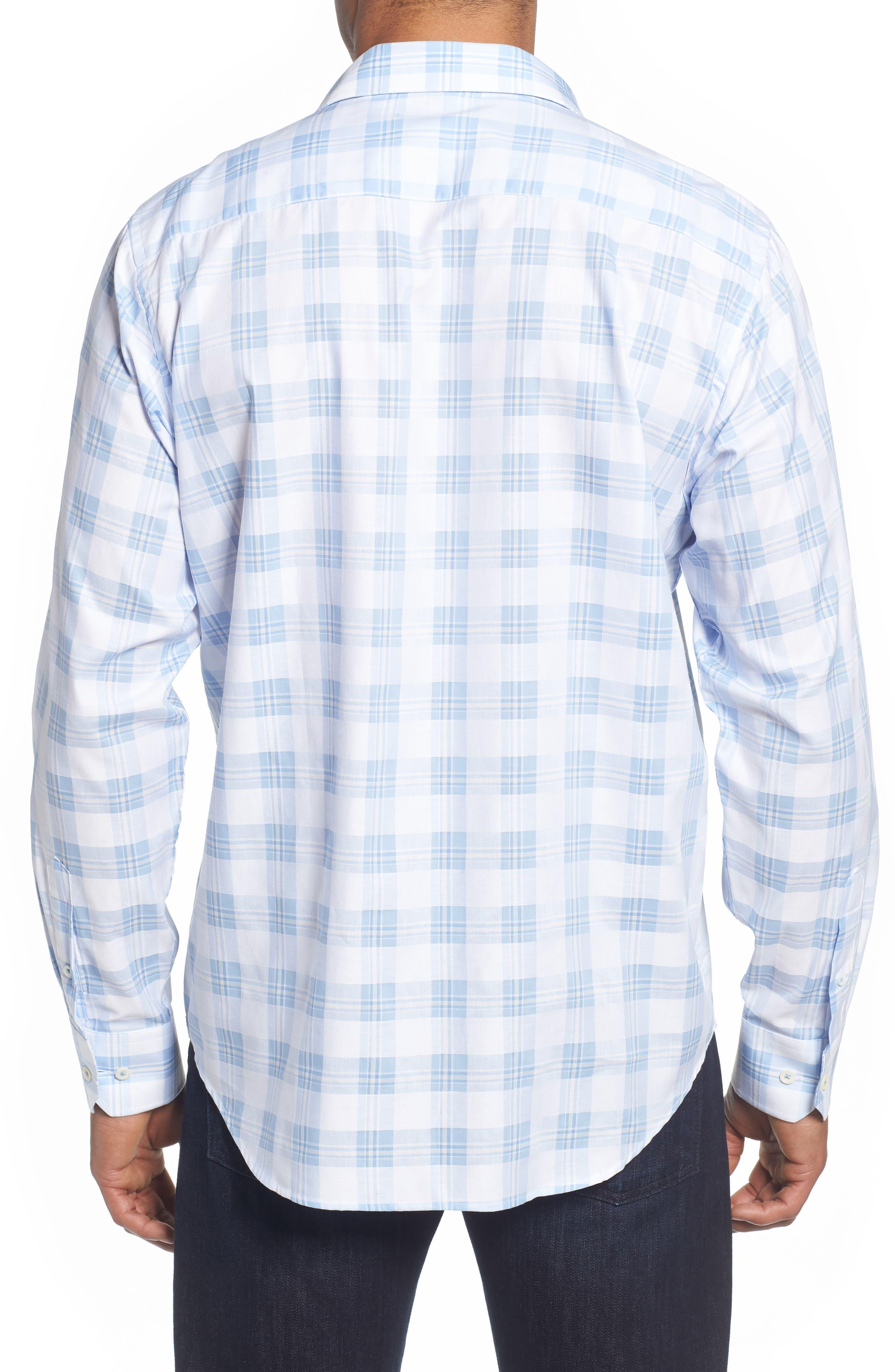 Classic Fit Tartan Sport Shirt,                             Alternate thumbnail 3, color,                             Sky
