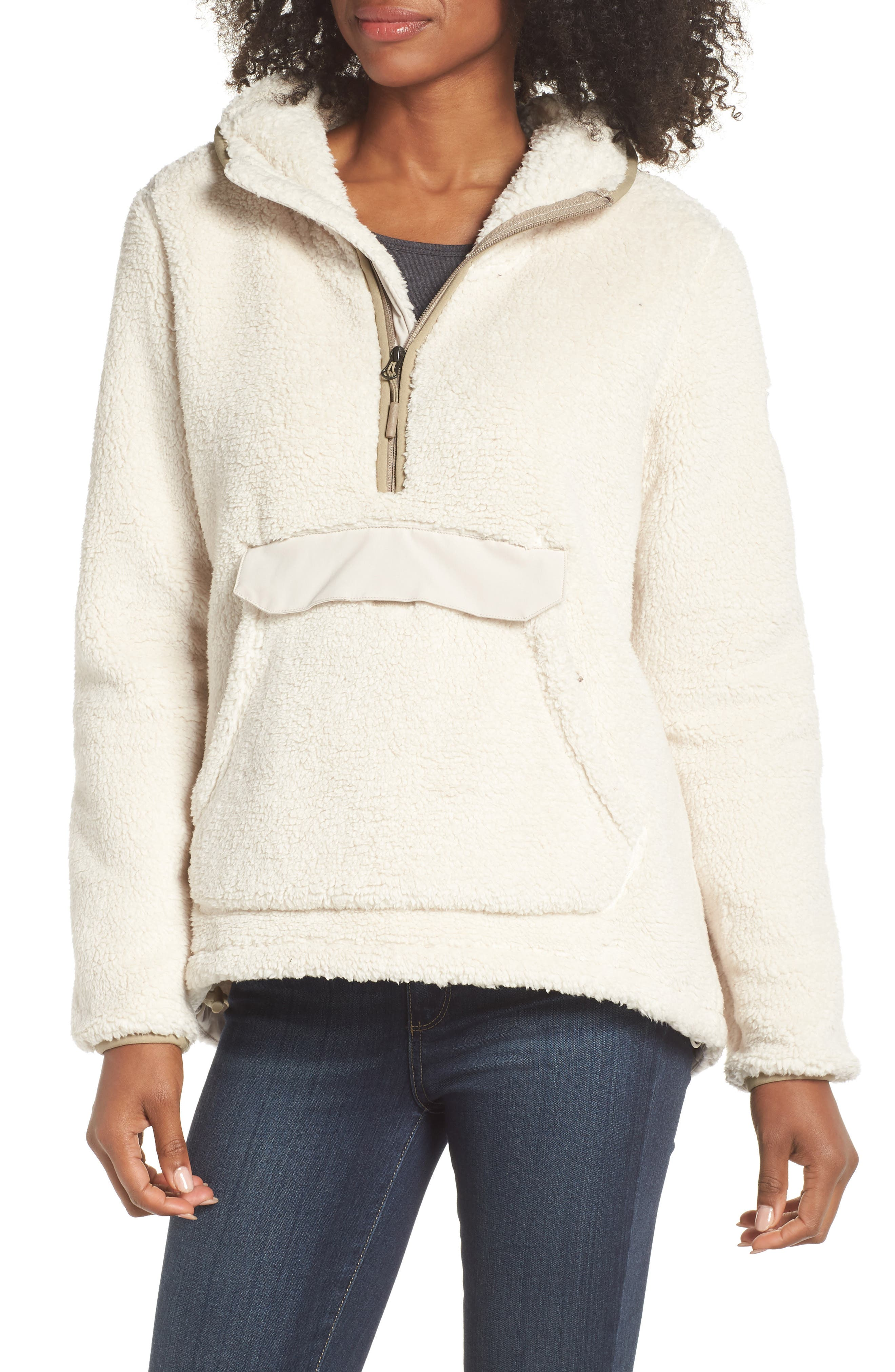 Campshire High Pile Fleece Pullover Hoodie,                             Main thumbnail 1, color,                             Vintage White/ Peyote Beige