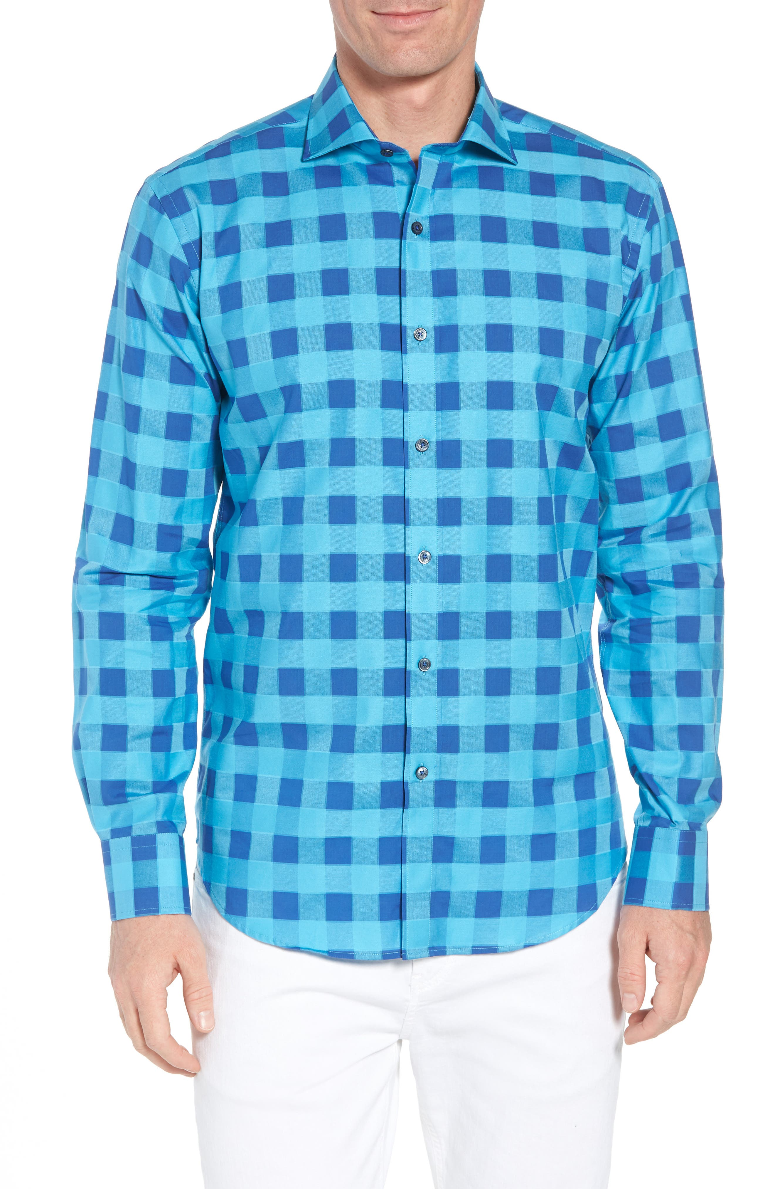 Shaped Fit Check Sport Shirt,                         Main,                         color, Turquoise