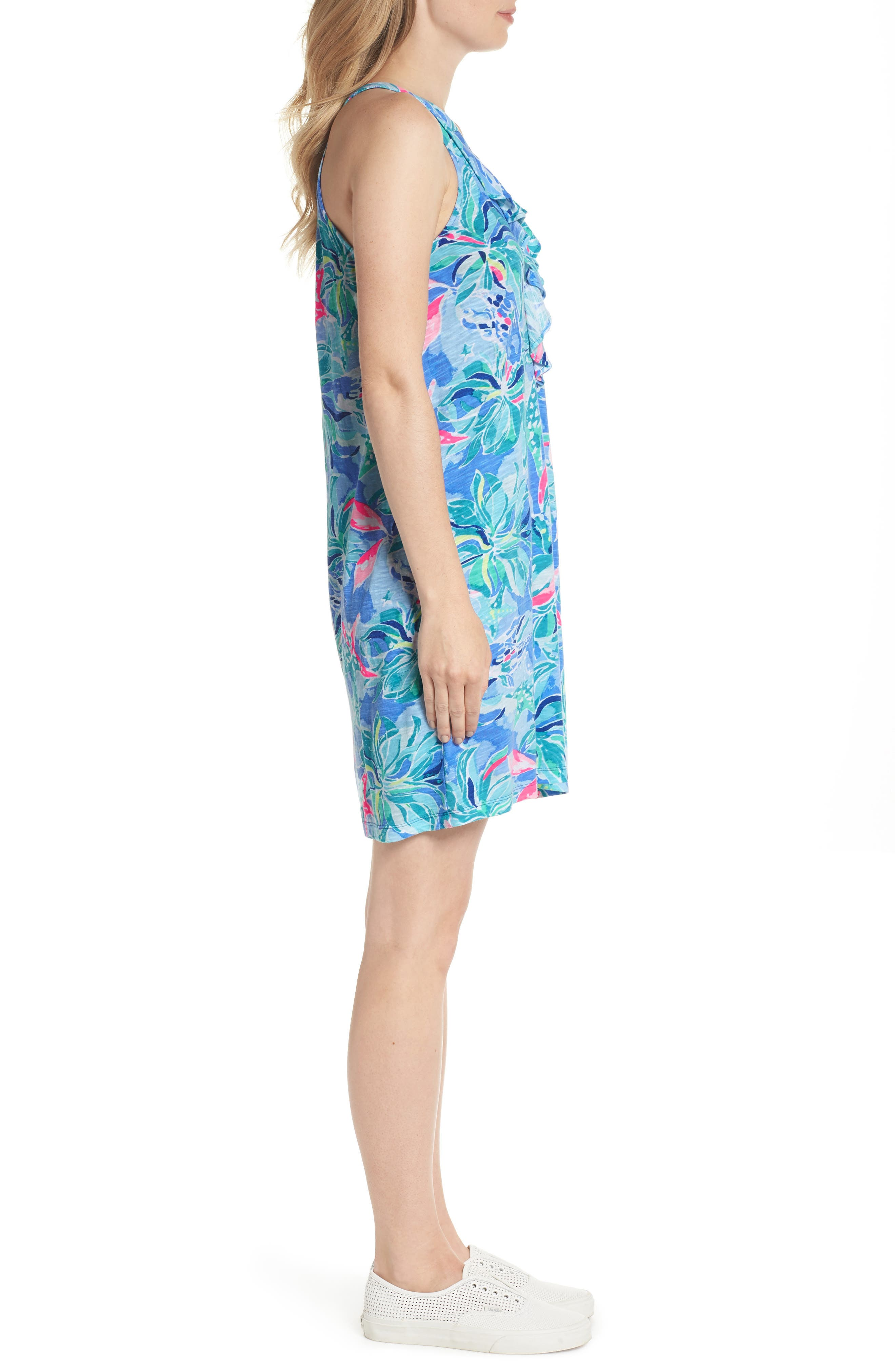 Shay Ruffle Halter Dress,                             Alternate thumbnail 3, color,                             Bennet Blue Celestial Seas