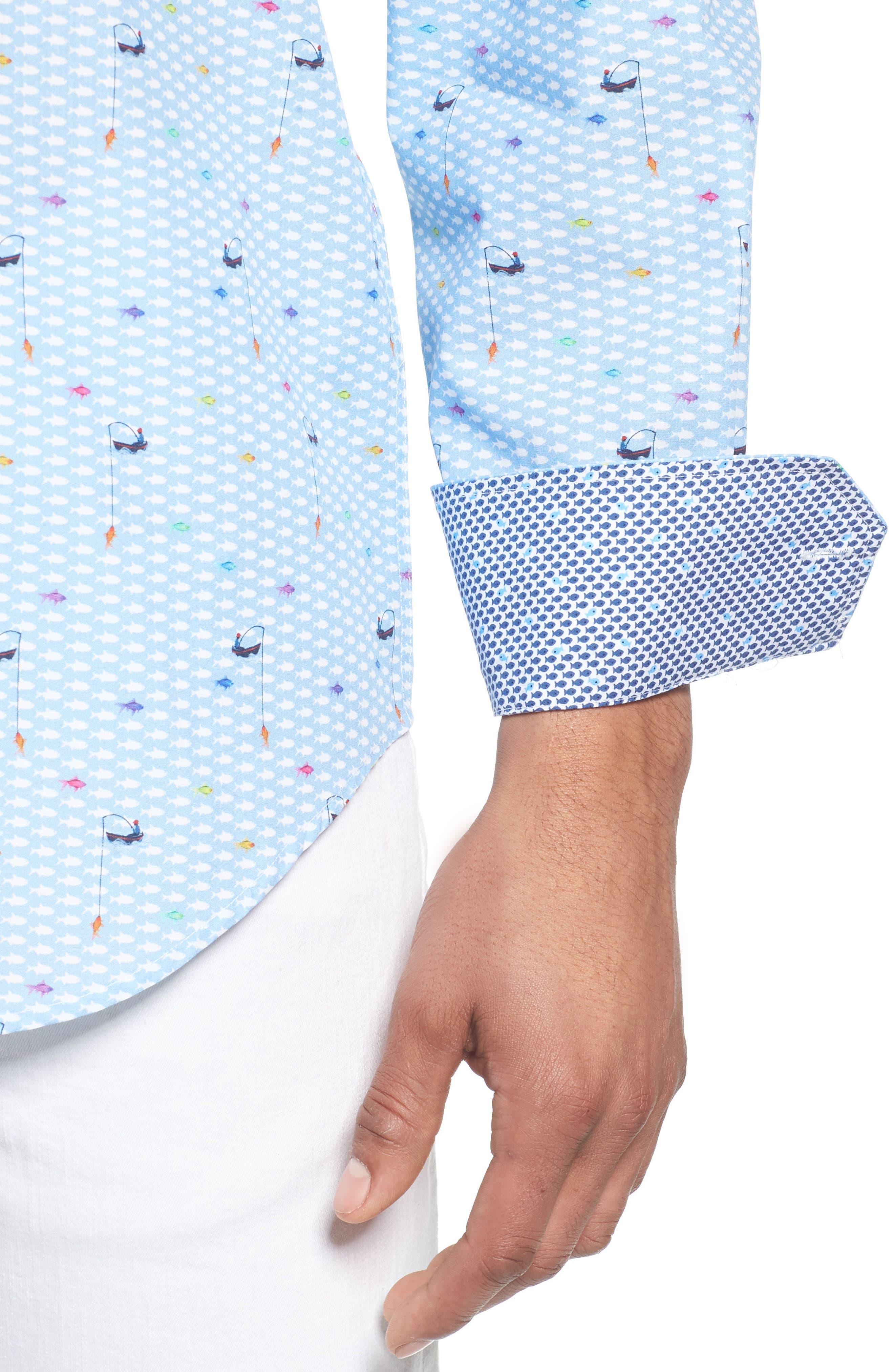 Classic Fit Fisherman Print Sport Shirt,                             Alternate thumbnail 2, color,                             Air Blue