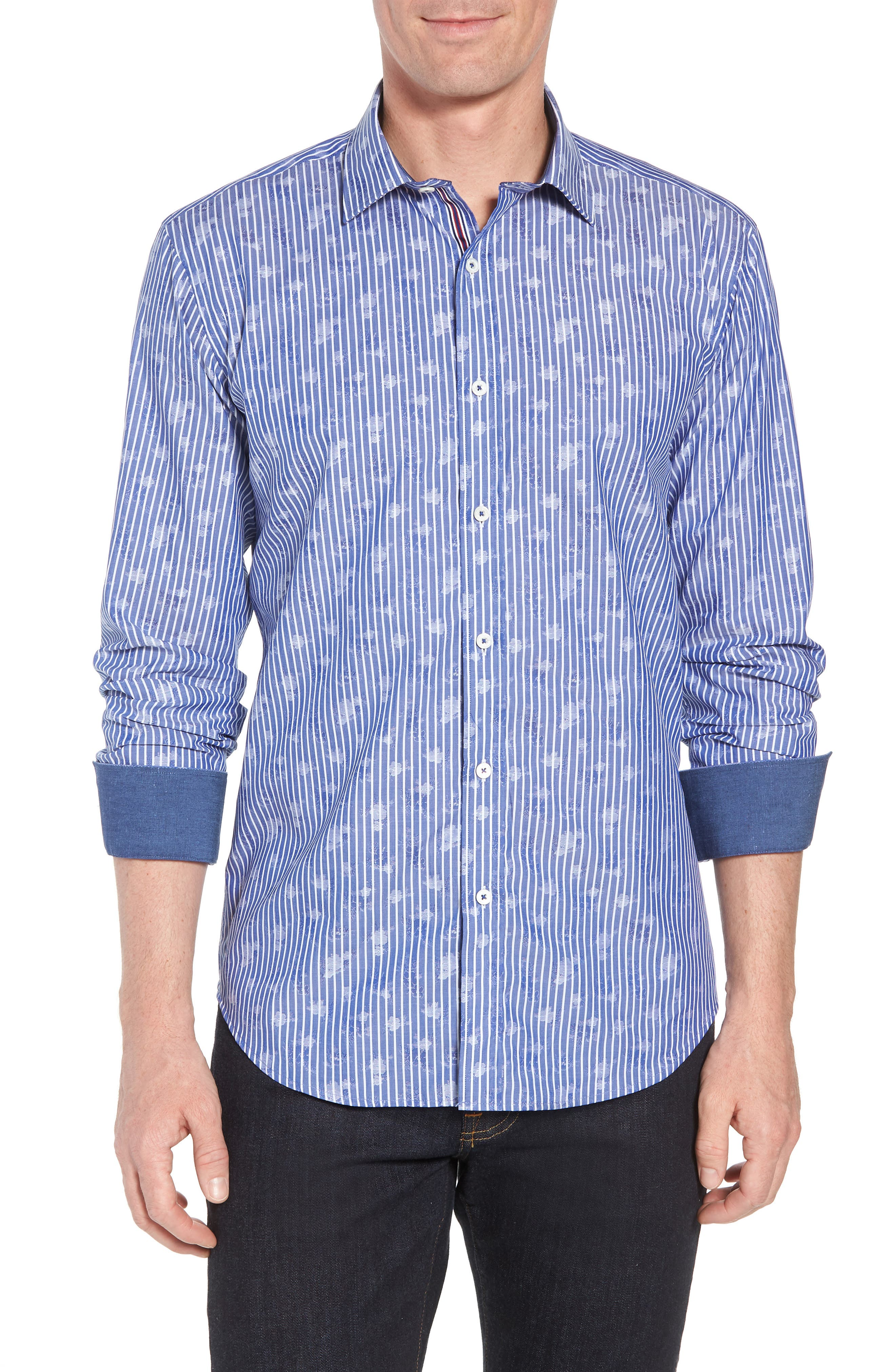 Shaped Fit Layered Print Sport Shirt,                             Main thumbnail 1, color,                             Navy