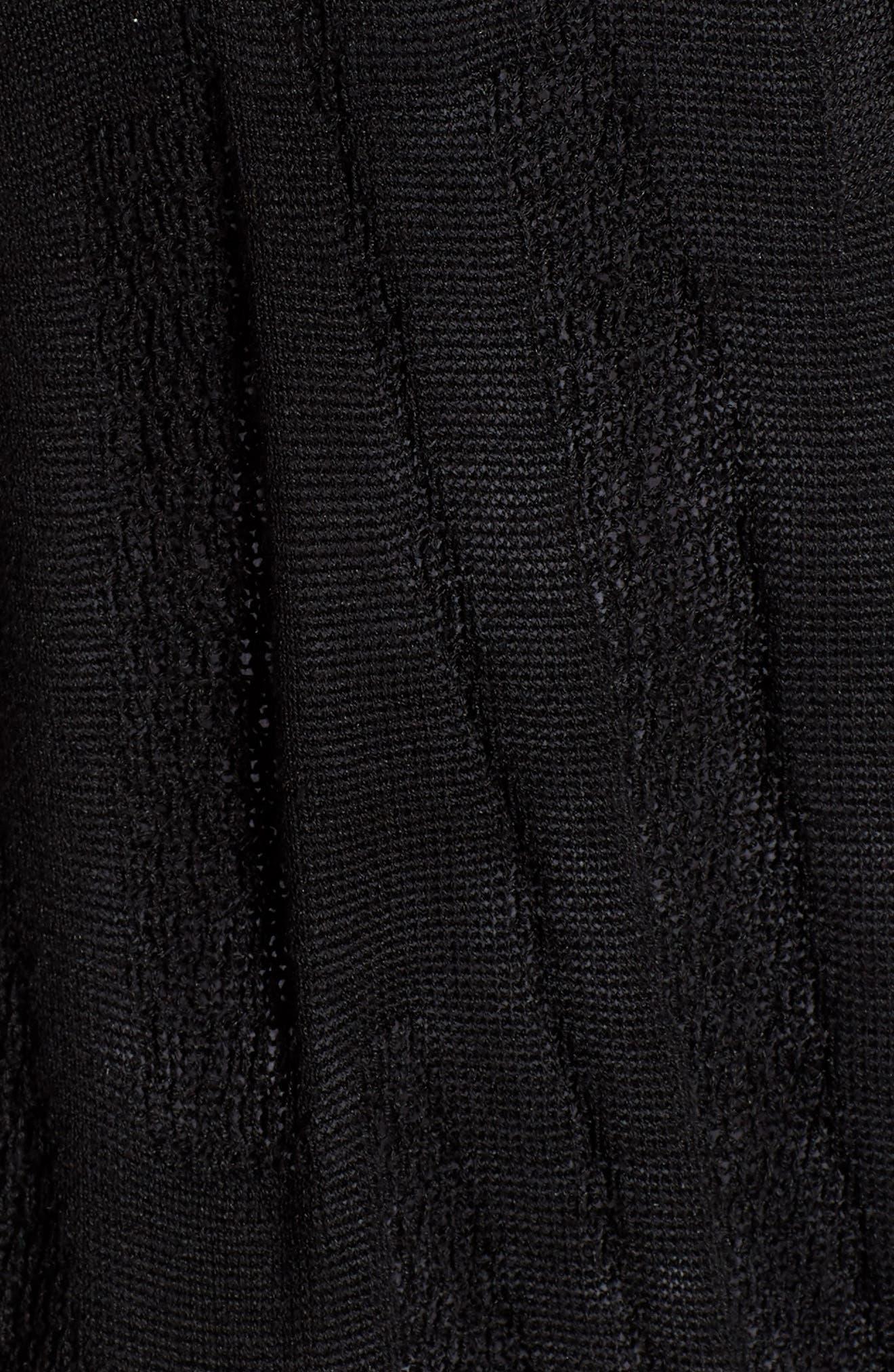 Simple Silk & Organic Linen Cardigan,                             Alternate thumbnail 5, color,                             Black
