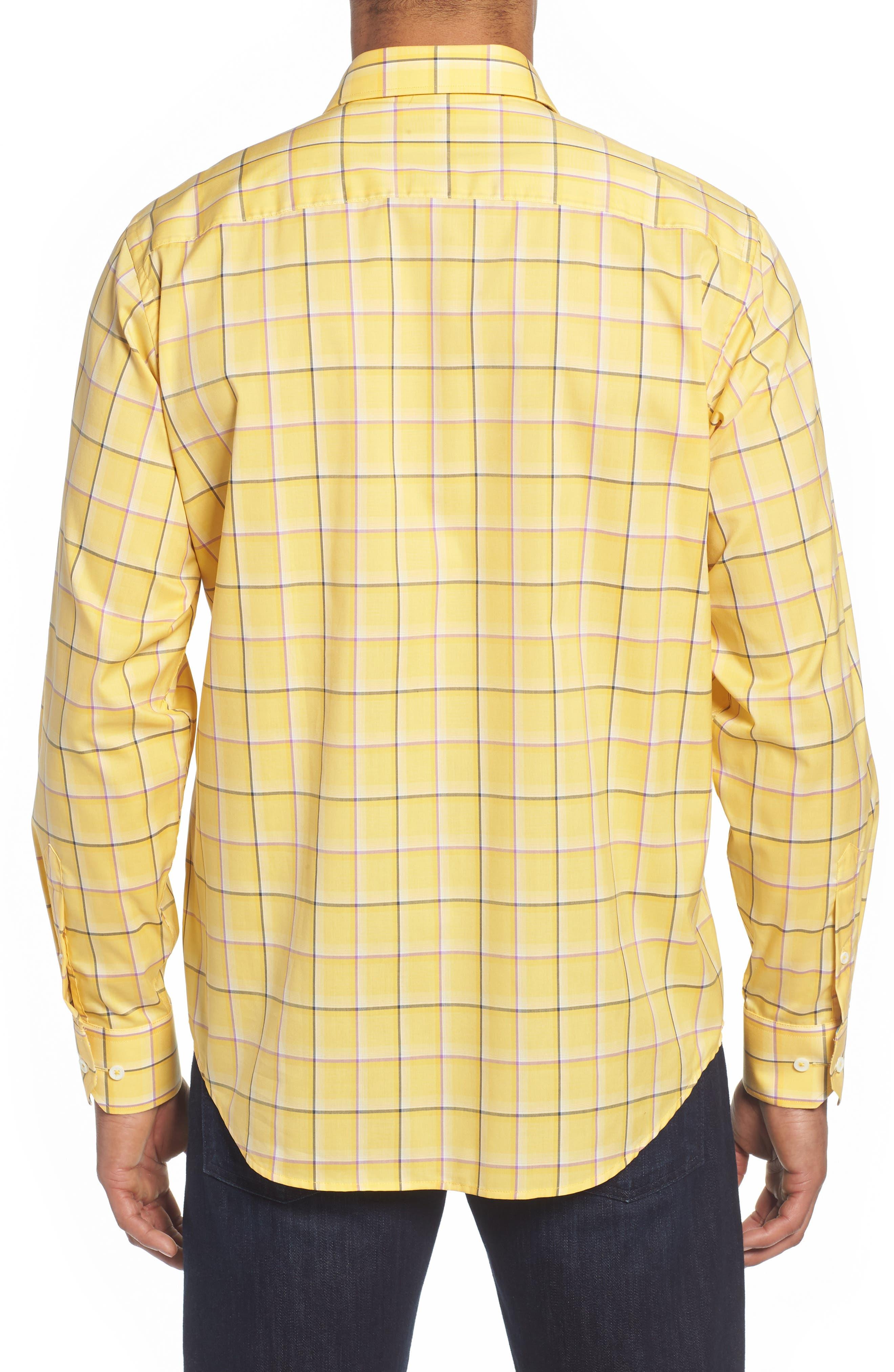 Classic Fit Check Sport Shirt,                             Alternate thumbnail 3, color,                             Lemon