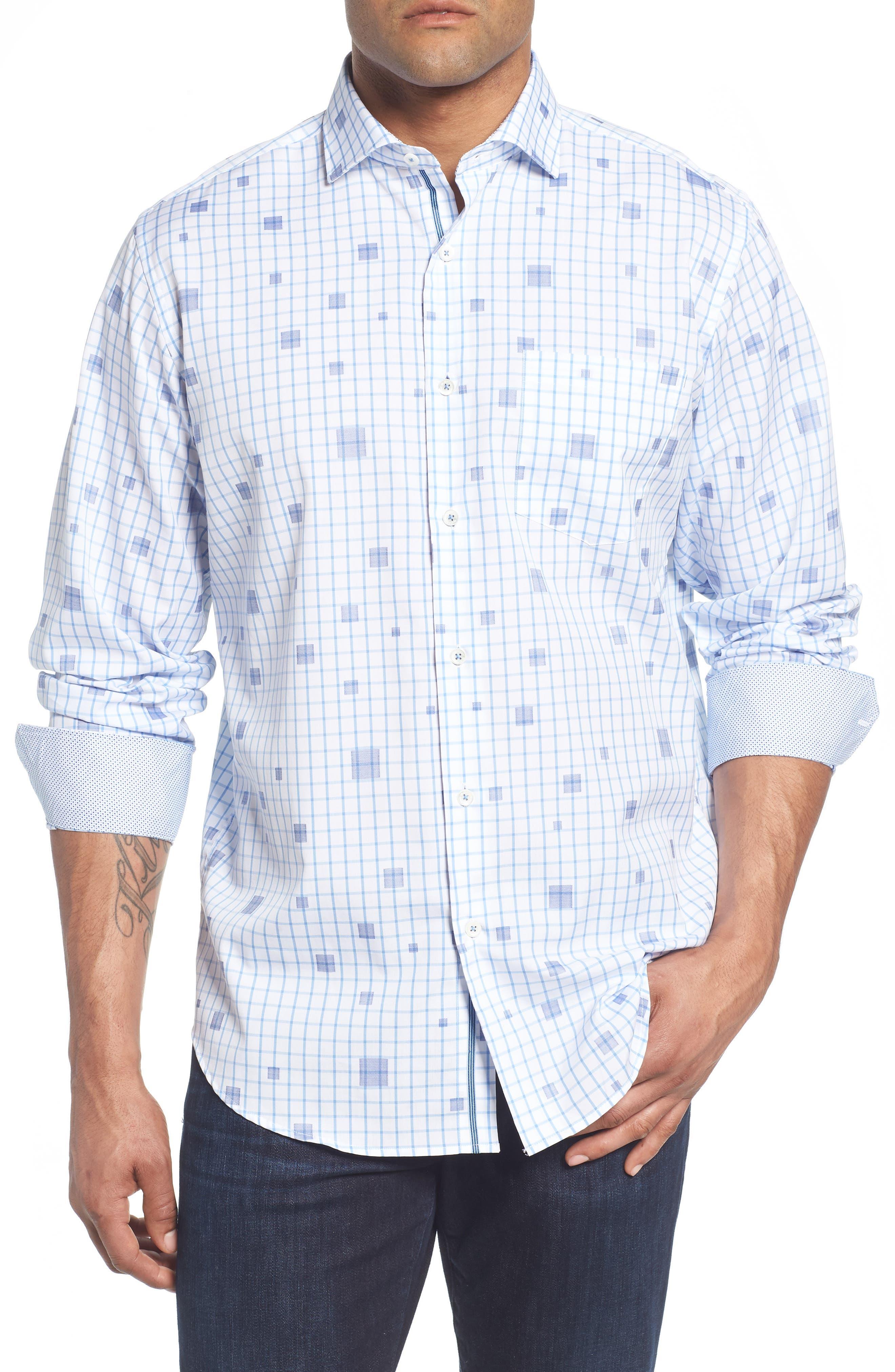 Classic Fit Square Check Sport Shirt,                         Main,                         color, Classic Blue