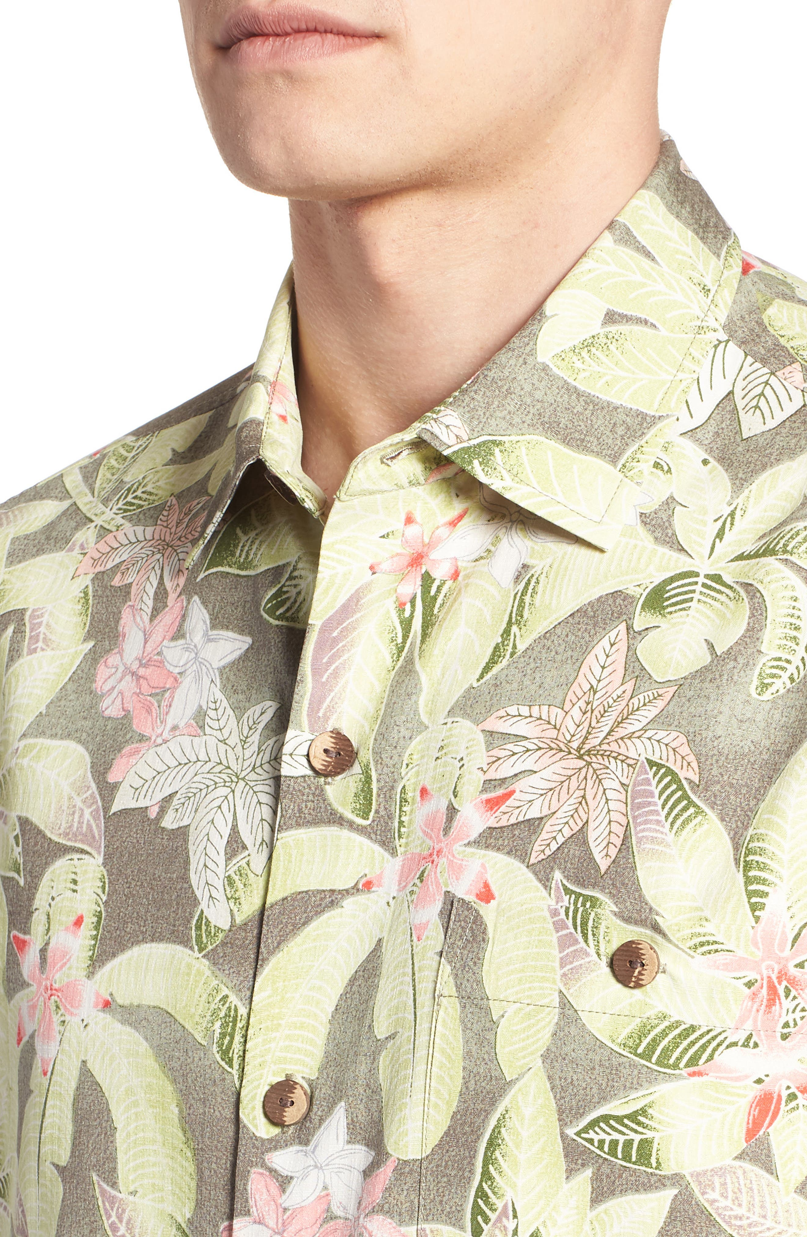 El Medano Jungle Silk Camp Shirt,                             Alternate thumbnail 2, color,                             Dusty Thyme