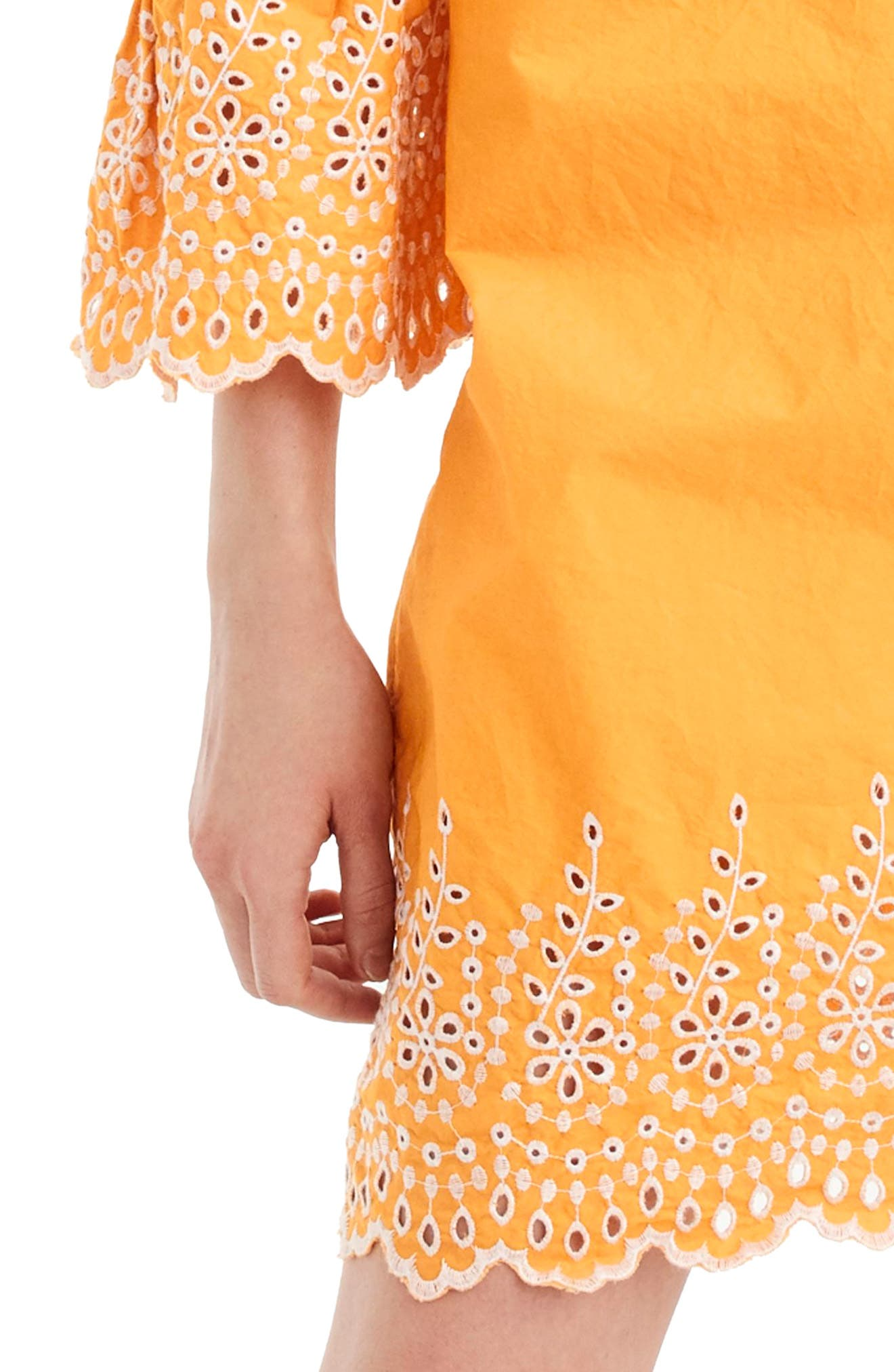 J.Crew Eyelet Bell Sleeve Dress,                             Alternate thumbnail 3, color,                             Bronzed Orange