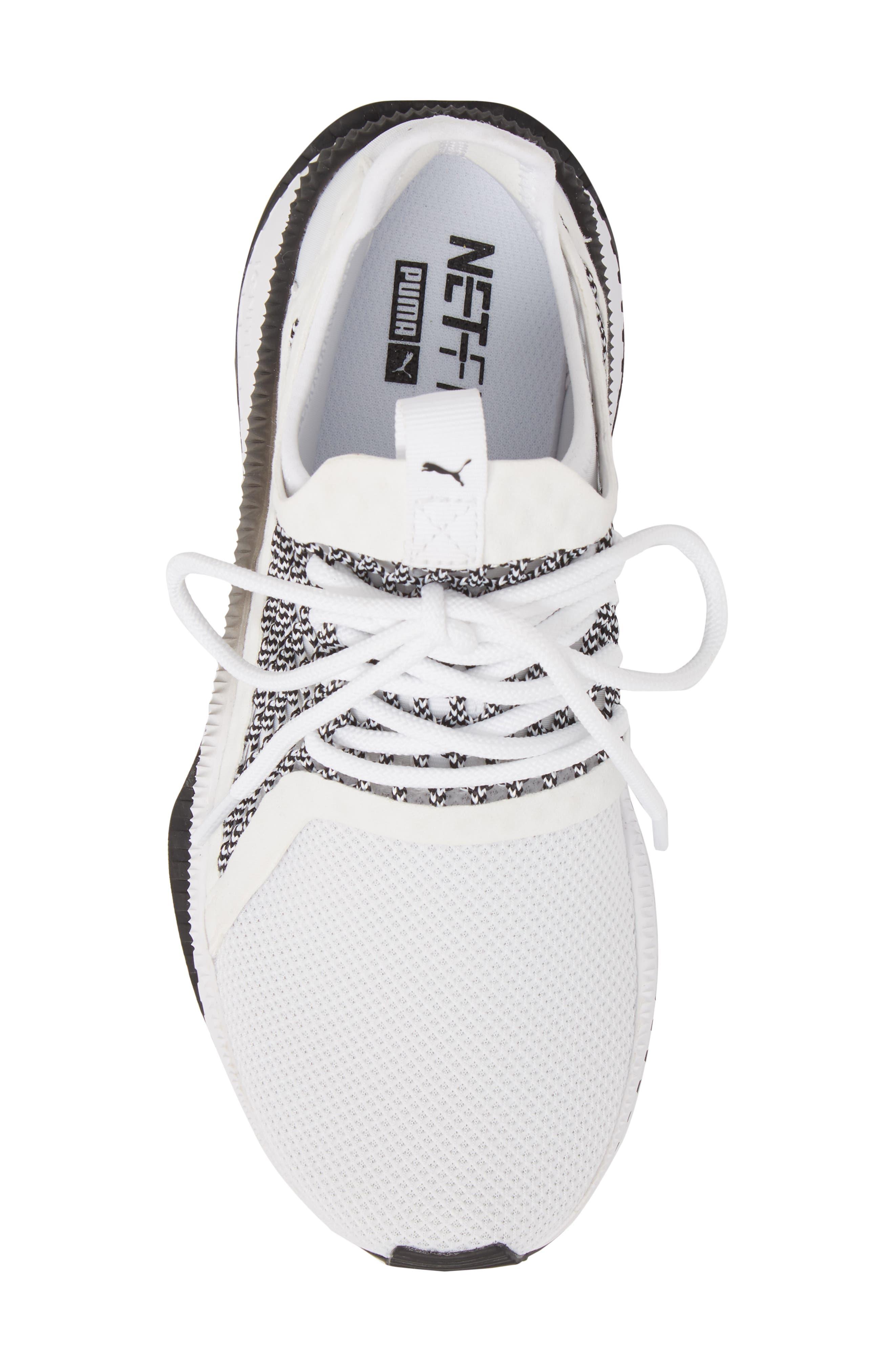 Tsugi Netfit evoKNIT Training Shoe,                             Alternate thumbnail 5, color,                             White/ Black