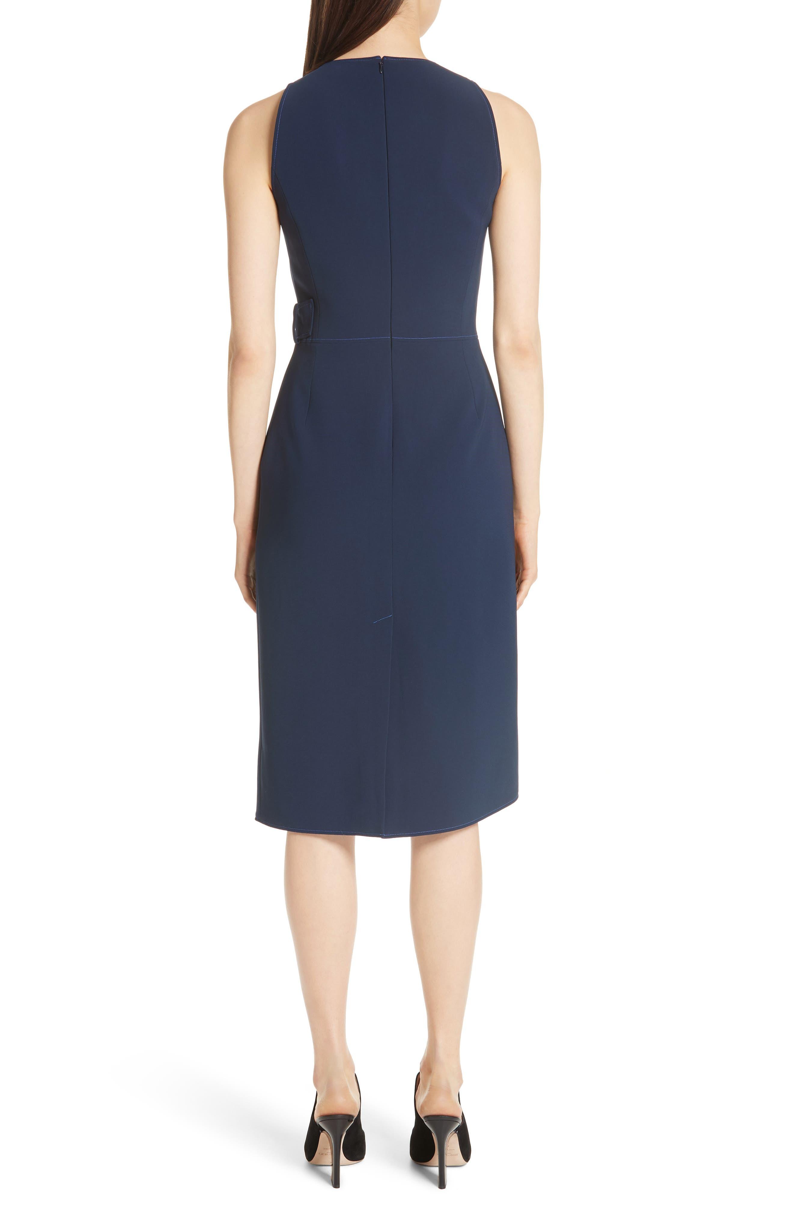 Asymmetrical Belted Dress,                             Alternate thumbnail 2, color,                             Navy