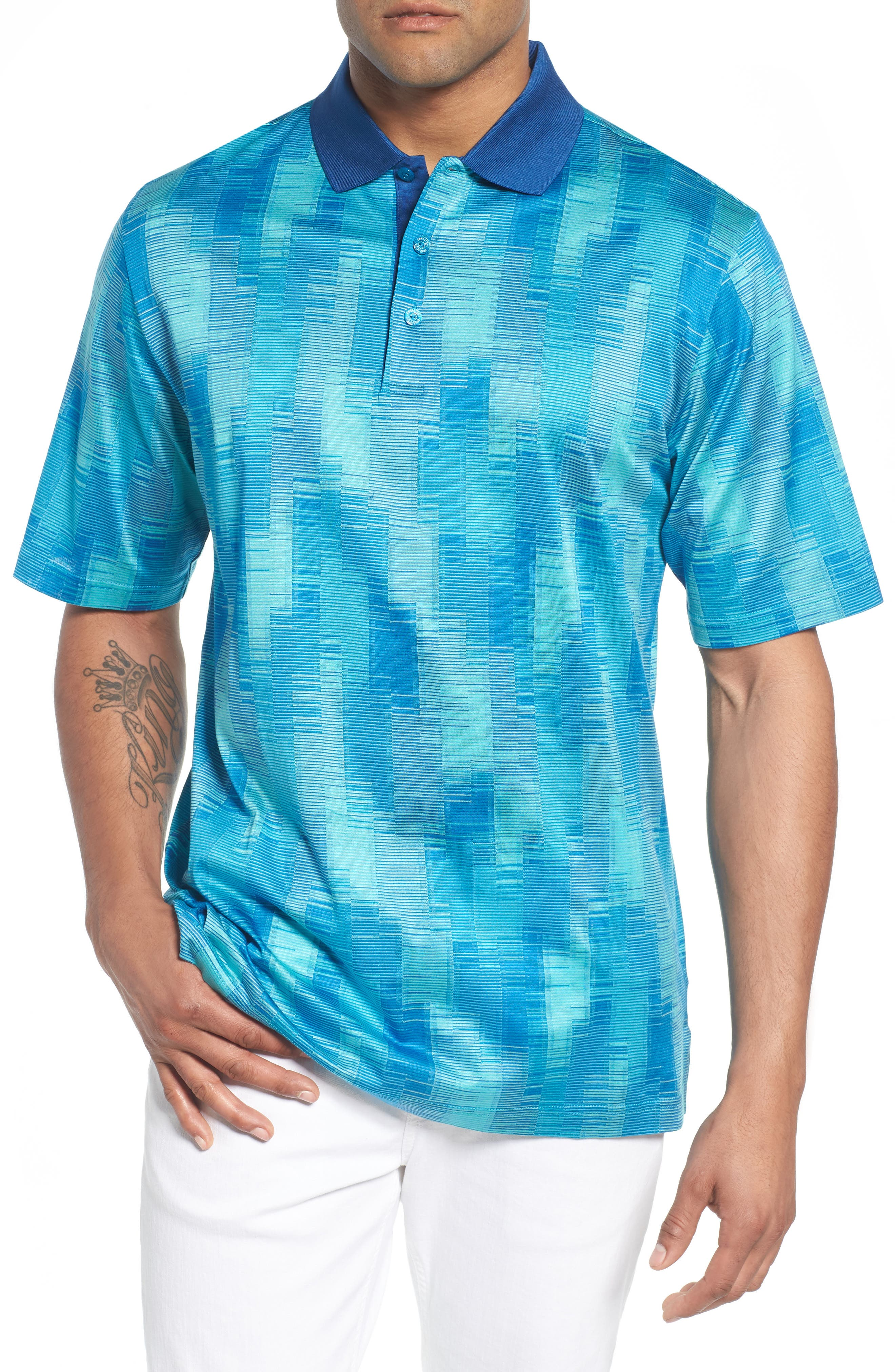 Abstract Stripe Mercerized Cotton Polo,                         Main,                         color, Turquoise